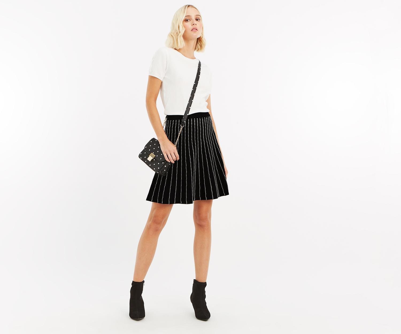 f73d2e5e3720 Lyst - Oasis Julia Line And Dot Knit Skirt in Black