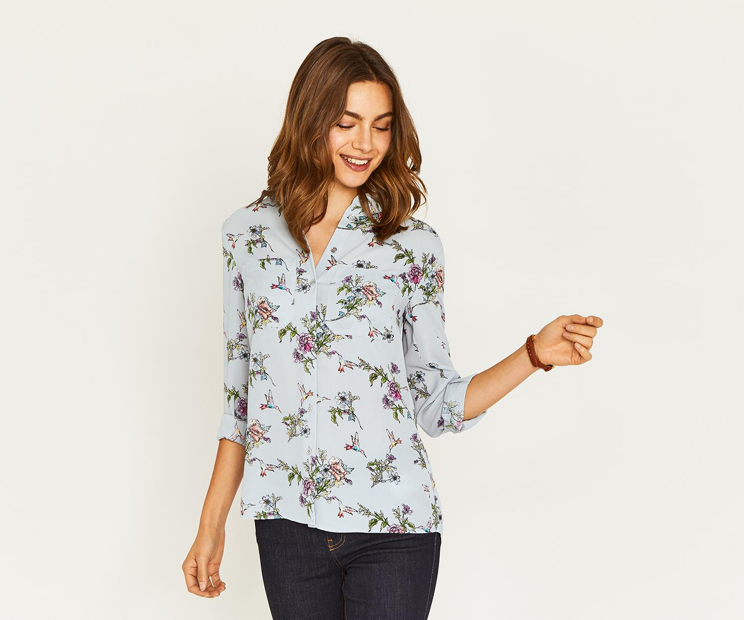 f02dc8f5ee343 Lyst - Oasis Zaina Floral Shirt in Gray