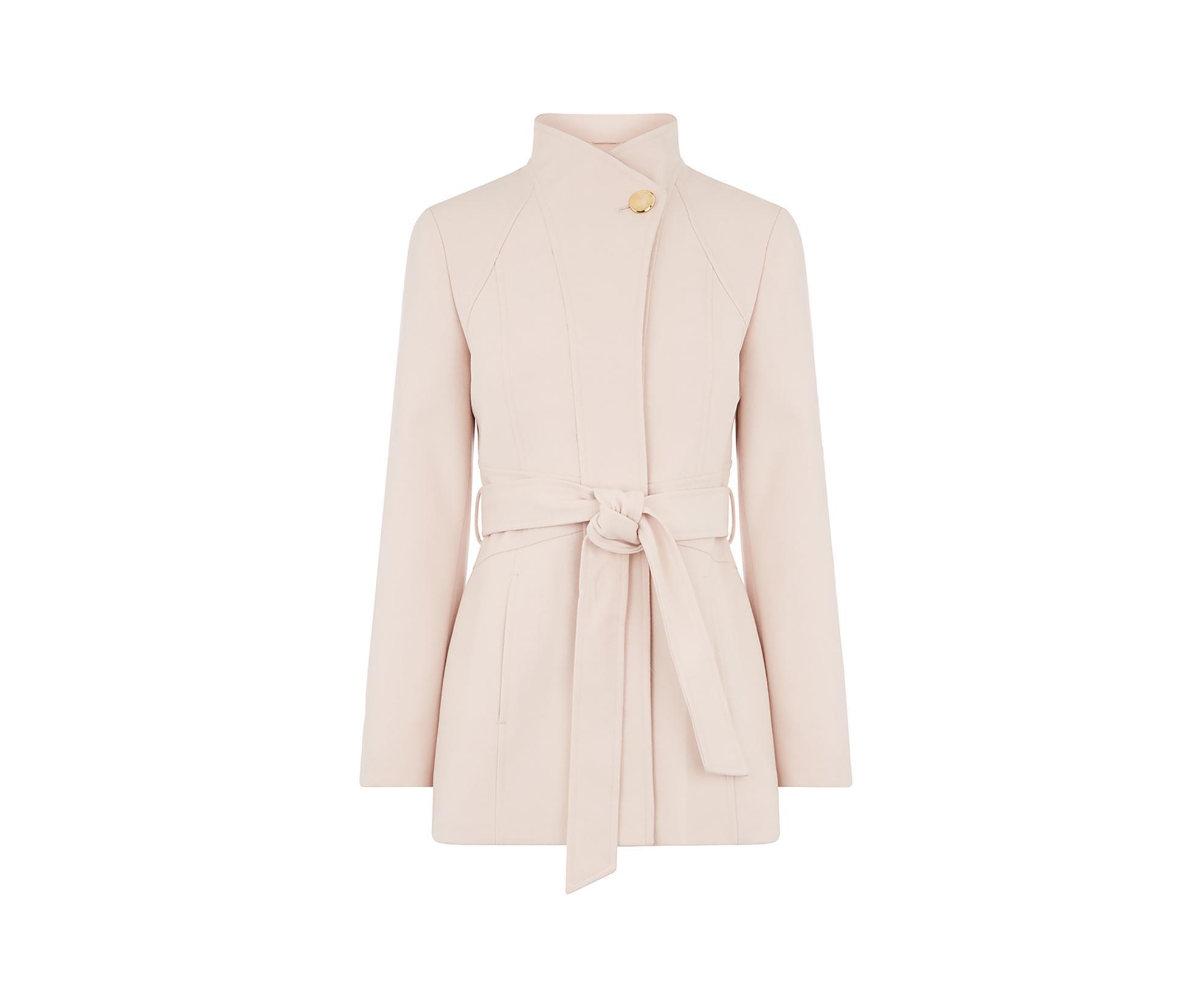 b56d0ba17ba5 Oasis Hazel Panel Fitted Coat in Pink - Lyst