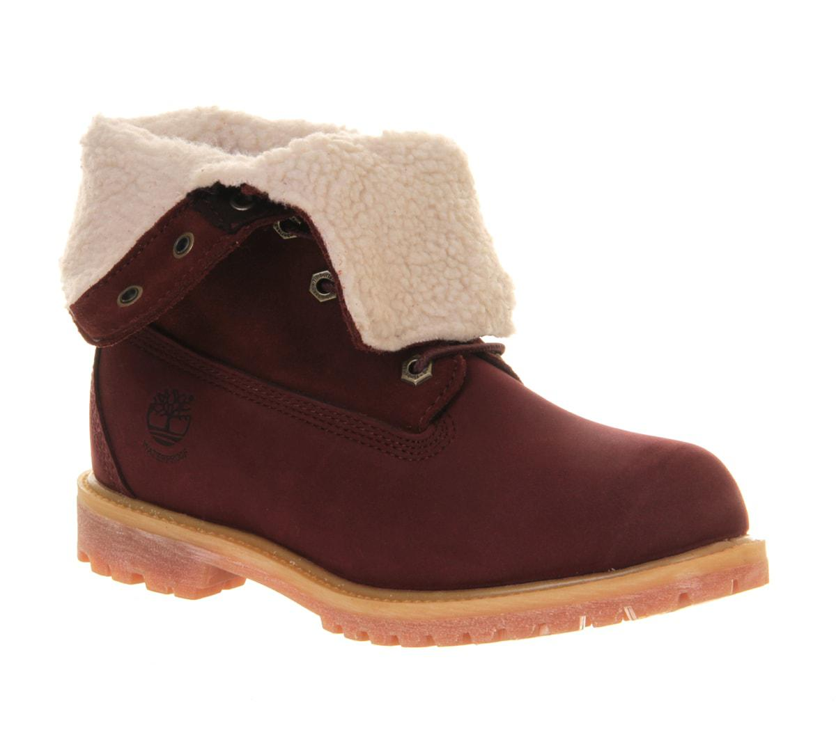 Timberland Teddy Fleece Womens Ankle Boots Prune Leather