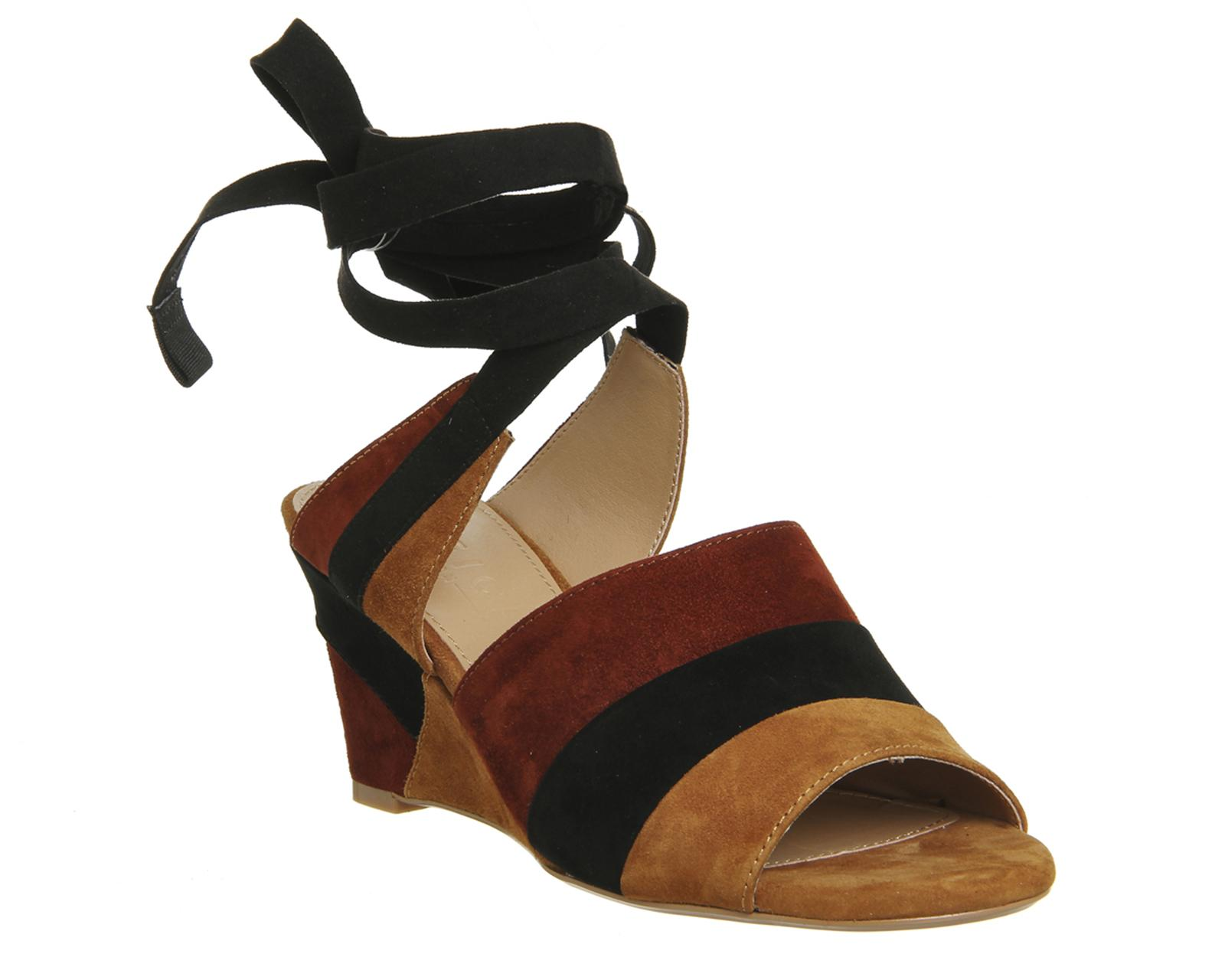 Office Macaroon Ankle Tie Wedges In Black Lyst