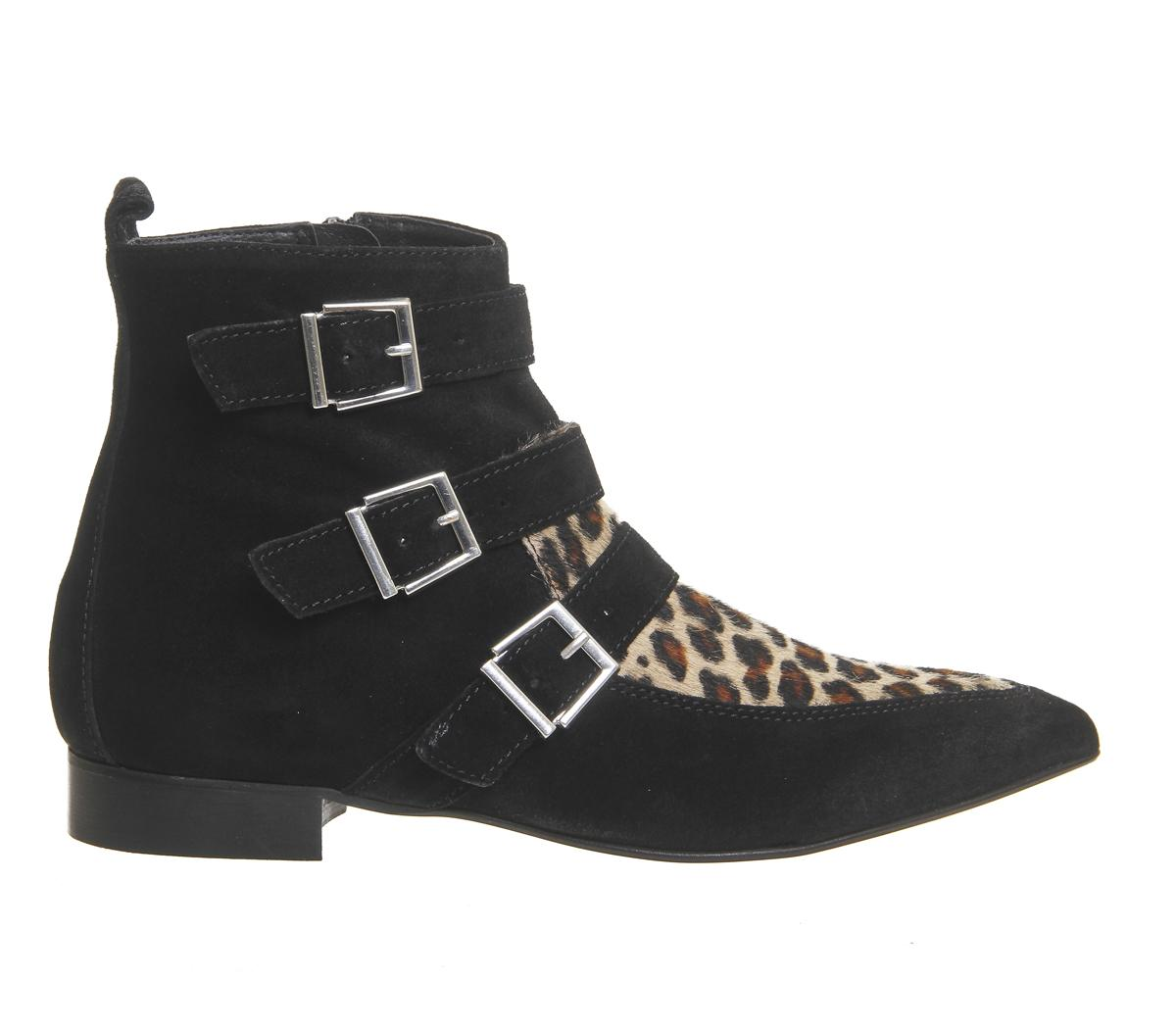office lightning pointed buckle boots in black lyst