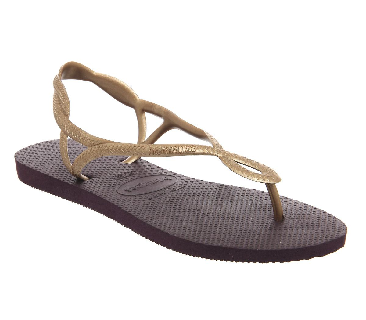 Daily Updated Havaianas Luna Flip Flops Aubergine for Women