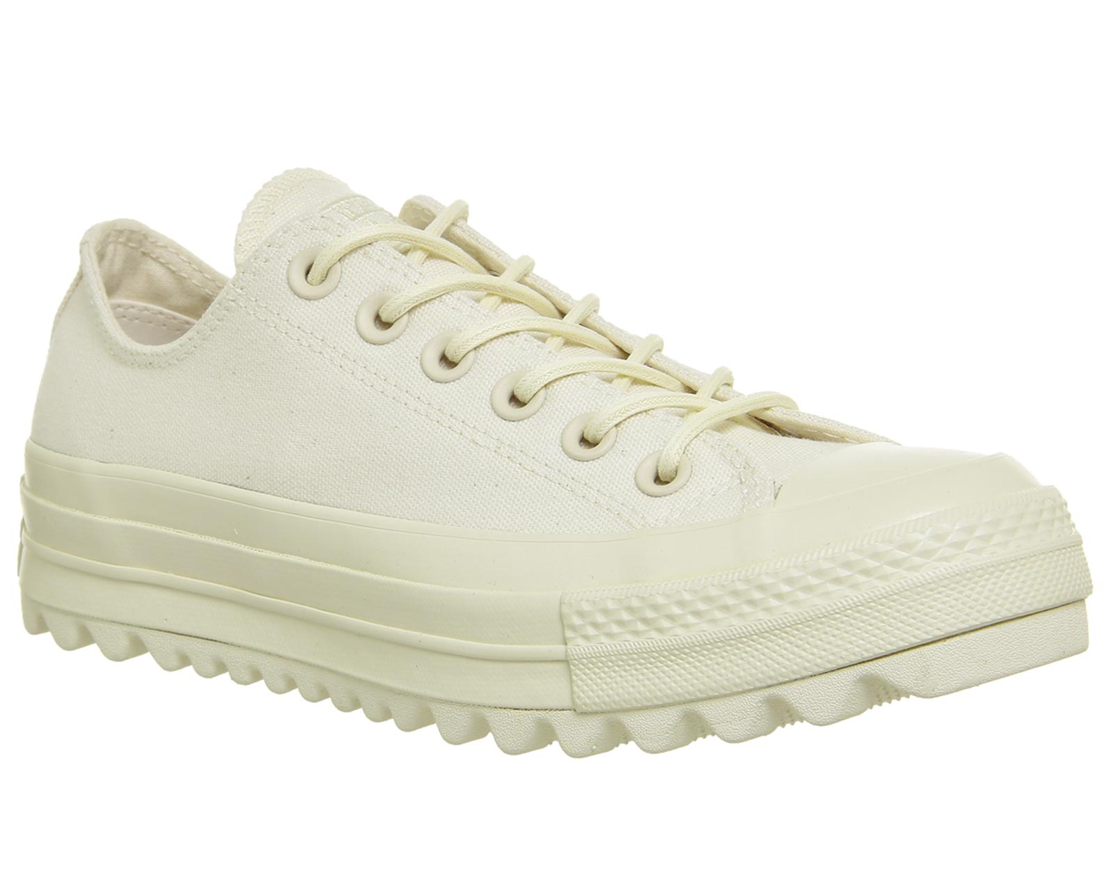 Chuck Taylor All Star Lift Ripple Ox Trainers In White - White Converse fzSm4cQ