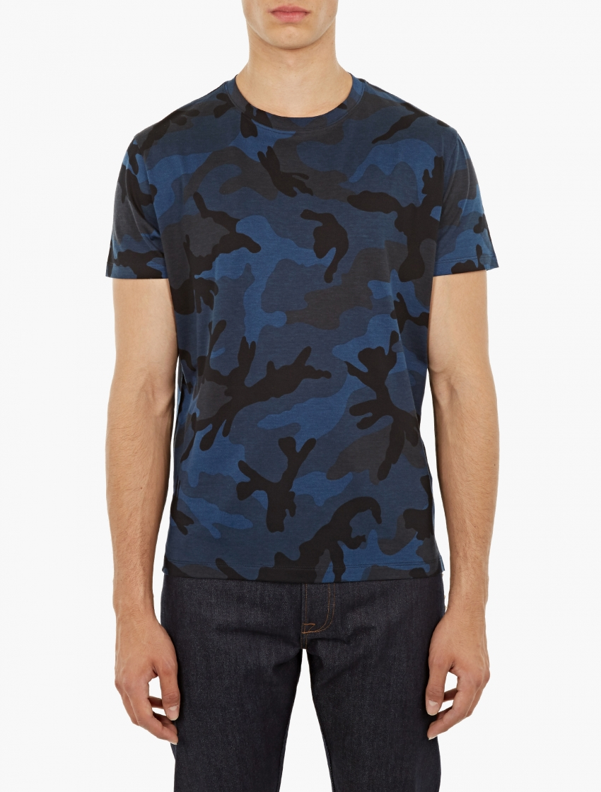 Valentino Blue Camouflage T Shirt In Blue For Men Lyst