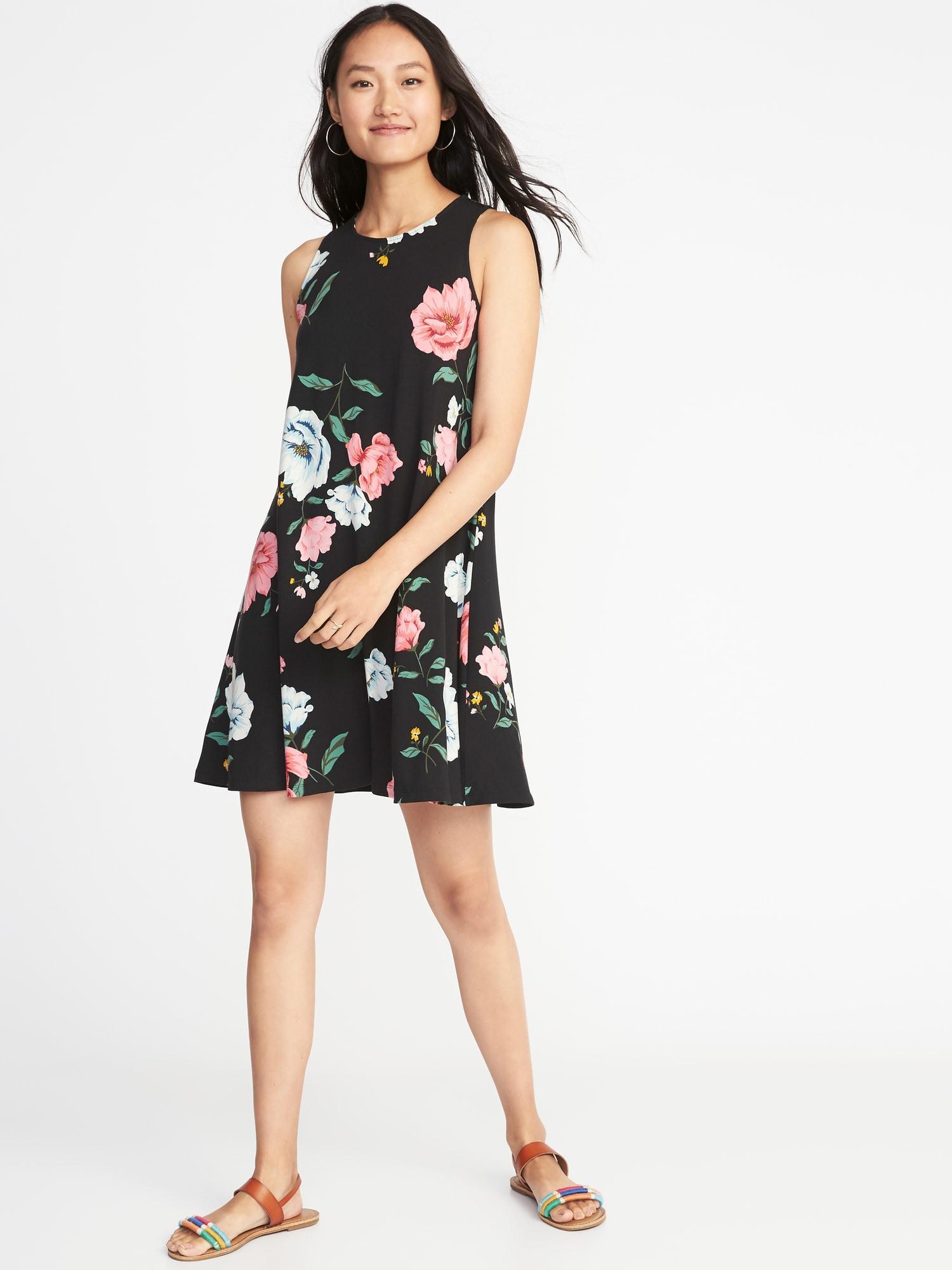 e97a2530215f Old Navy Jersey-knit Sleeveless Swing Dress in Black - Lyst