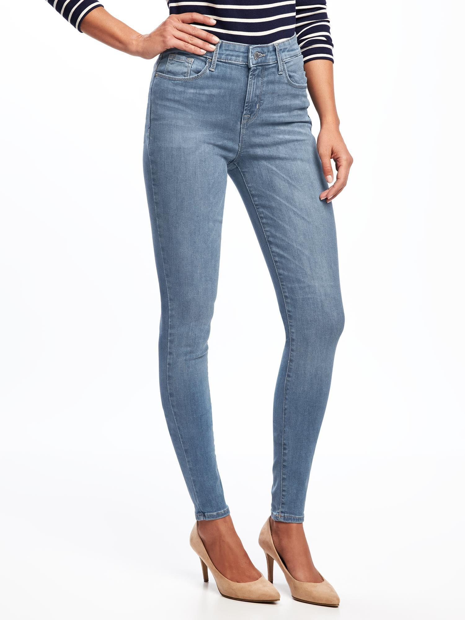 08ec2fd64cd Lyst - Old Navy High-rise Rockstar Built-in Sculpt Skinny Jeans in Blue