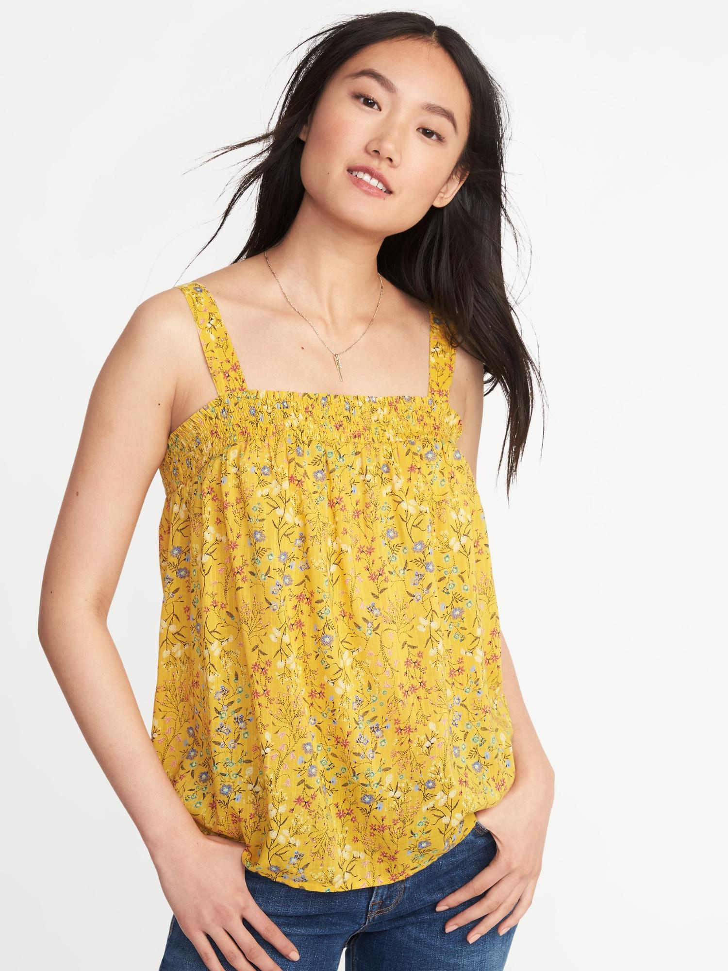 791de8e1314 Lyst - Old Navy Smocked Floral Swing Top in Yellow