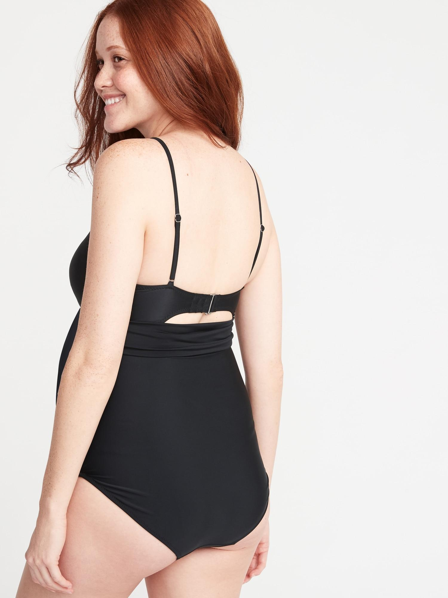 85a45131f6ebb Old Navy - Black Maternity V-neck Wrap-front Swimsuit - Lyst. View  fullscreen