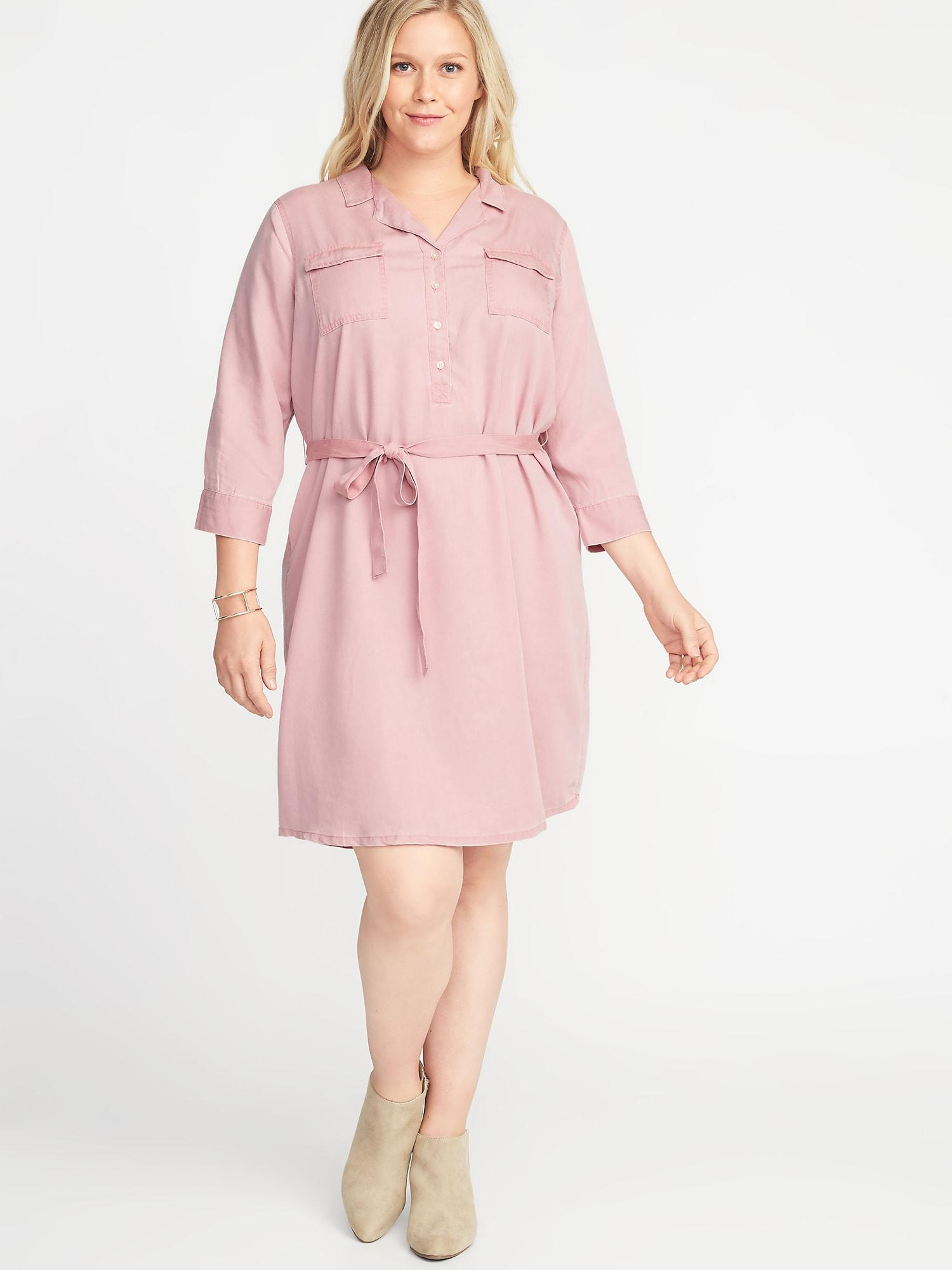 Old Navy Plus-size Tie-belt Utility Shirt Dress in Pink - Lyst