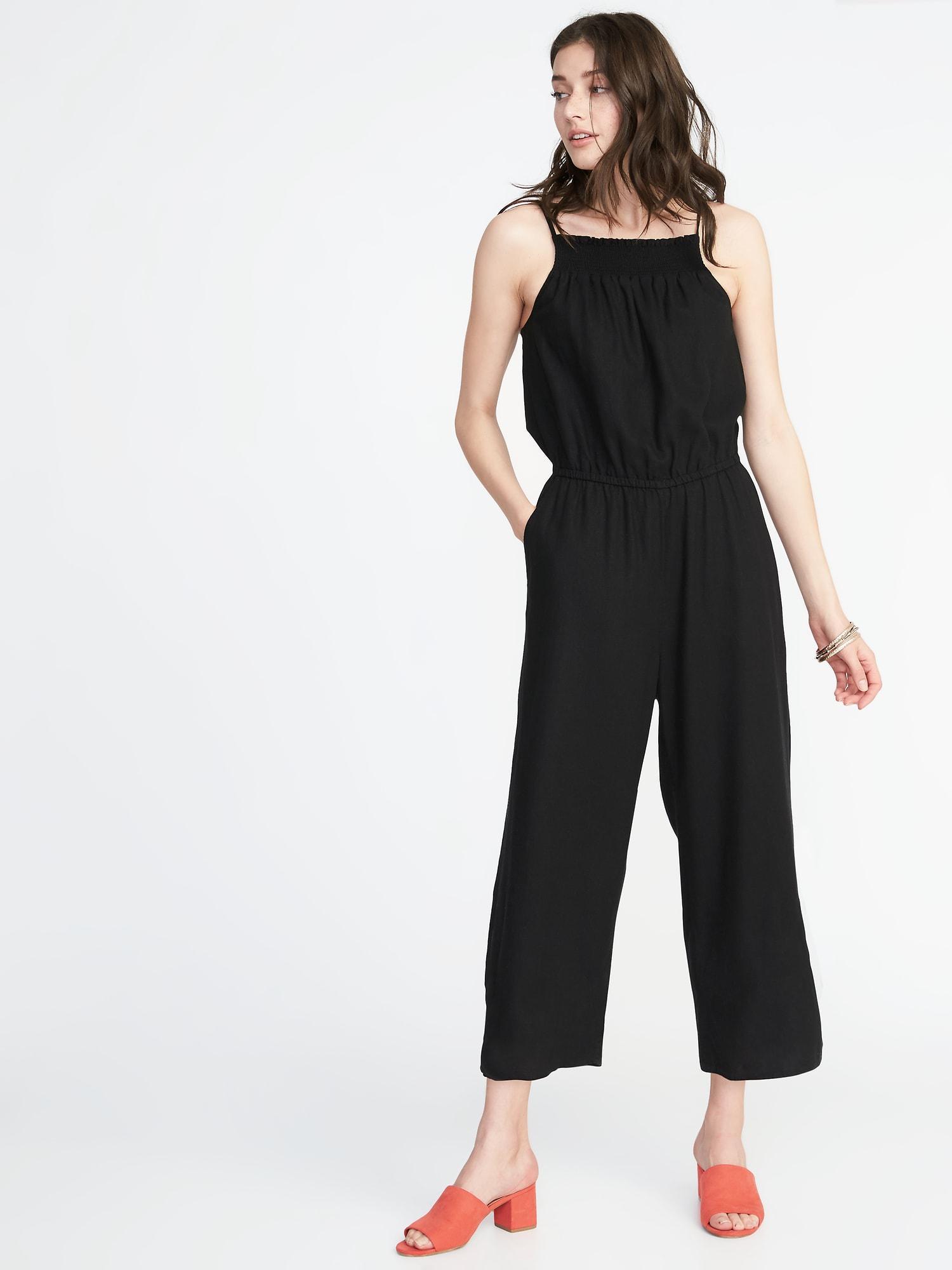 9306df9234f Lyst - Old Navy Waist-defined Sleeveless Linen-blend Jumpsuit in Black
