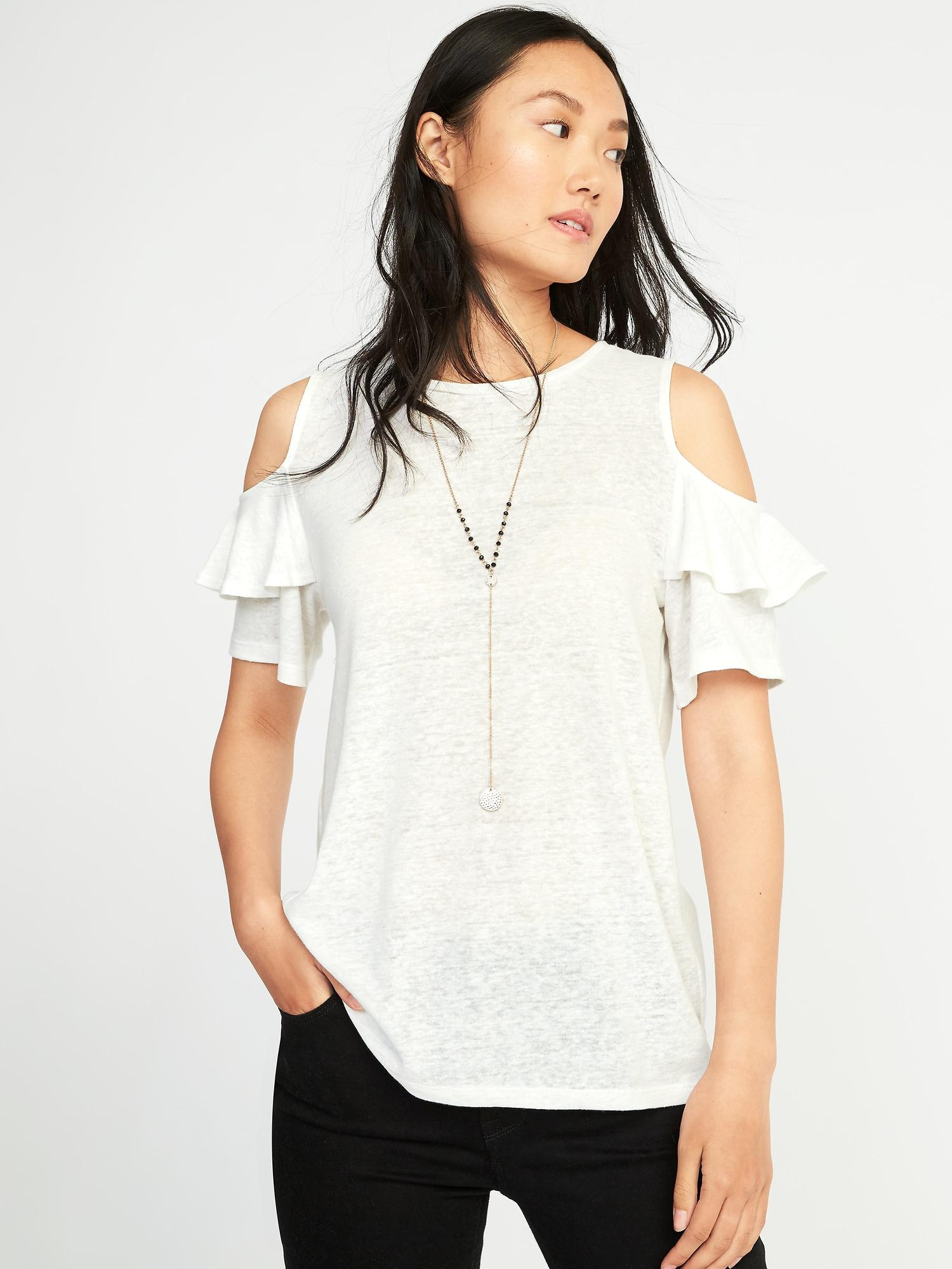504a9b62f5ccc0 Lyst - Old Navy Relaxed Linen-blend Cold-shoulder Top in White