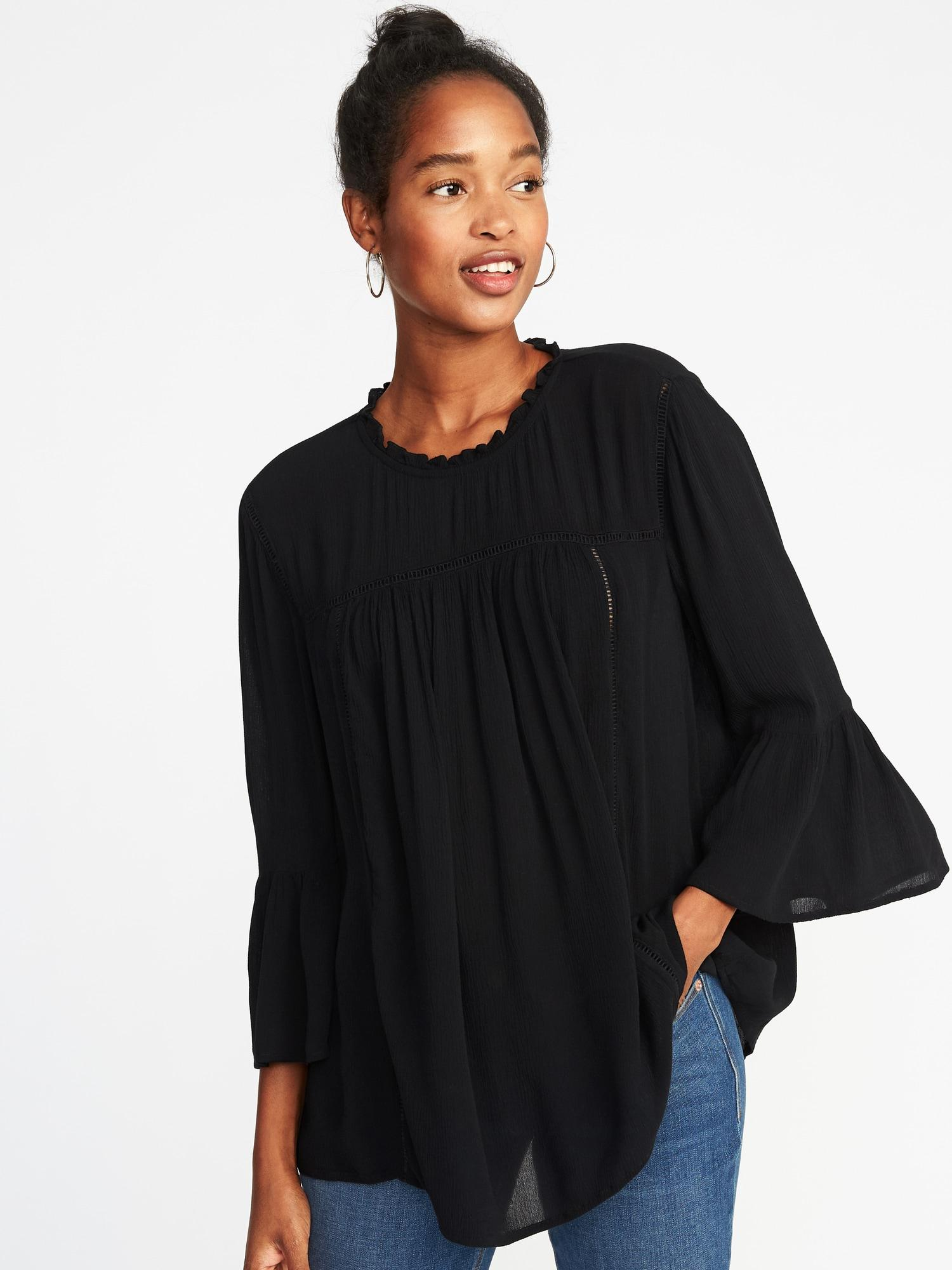 15481519addb24 Old Navy Ruffle-neck Crinkle-crepe Swing Blouse in Black - Lyst