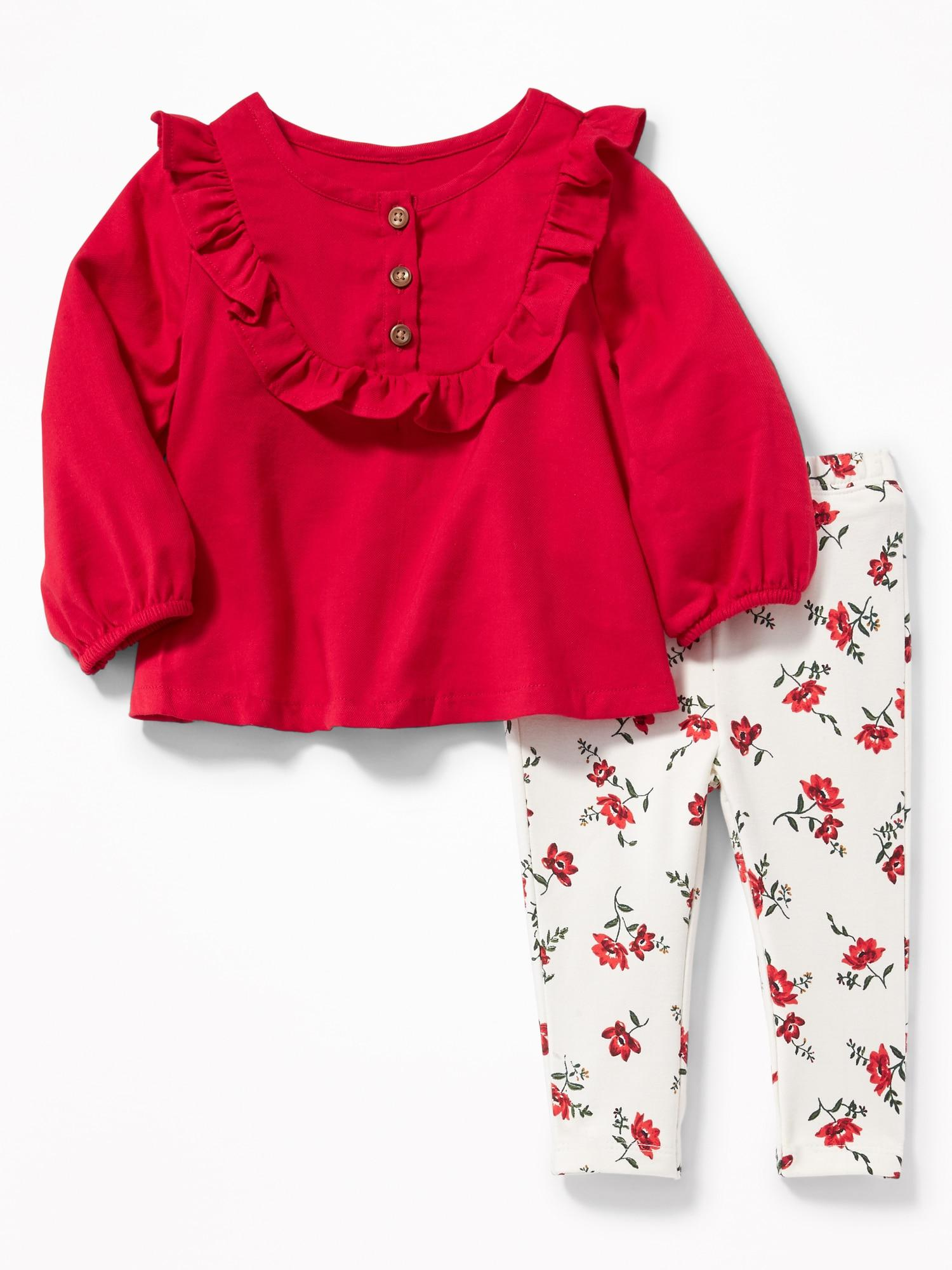 Lyst - Old Navy Ruffle-trim Top And Leggings Set in Red