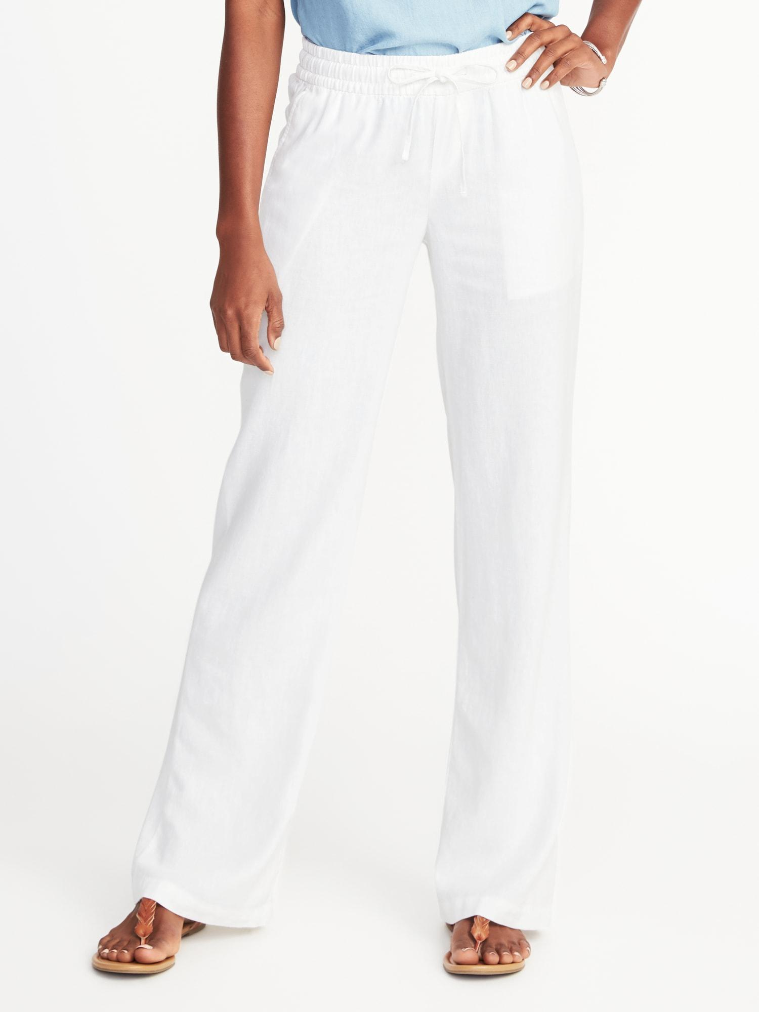 bbf6b55b5807e Lyst - Old Navy Mid-rise Soft Wide-leg Linen-blend Pants in White