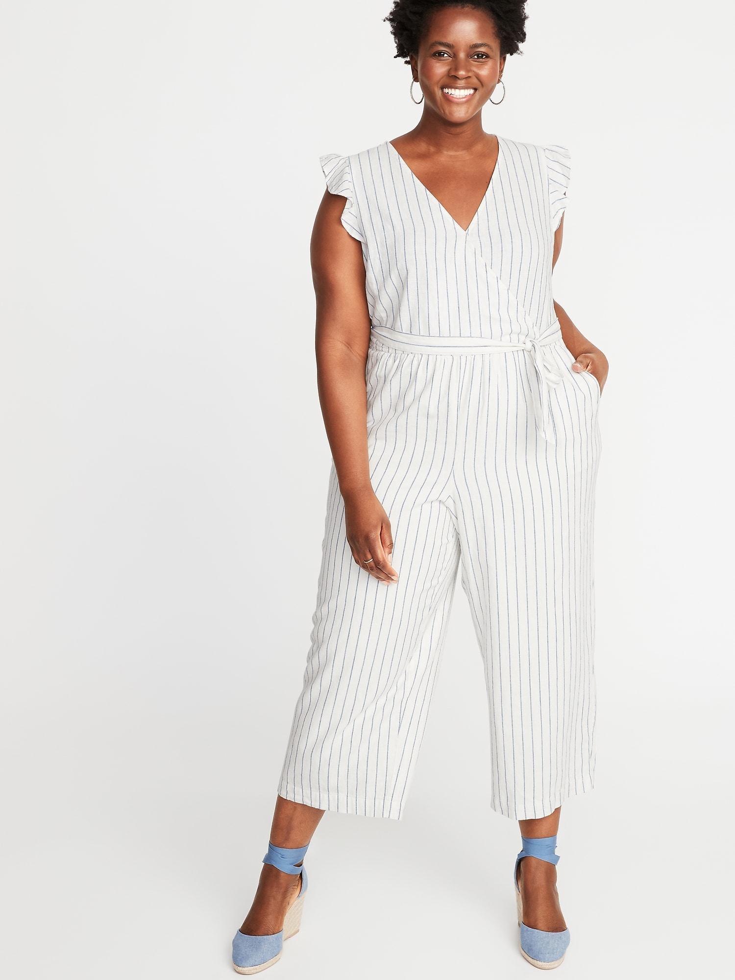 ec81a1ddaf5 Old Navy. Women s White Linen-blend Faux-wrap Tie-belt Plus-size Jumpsuit