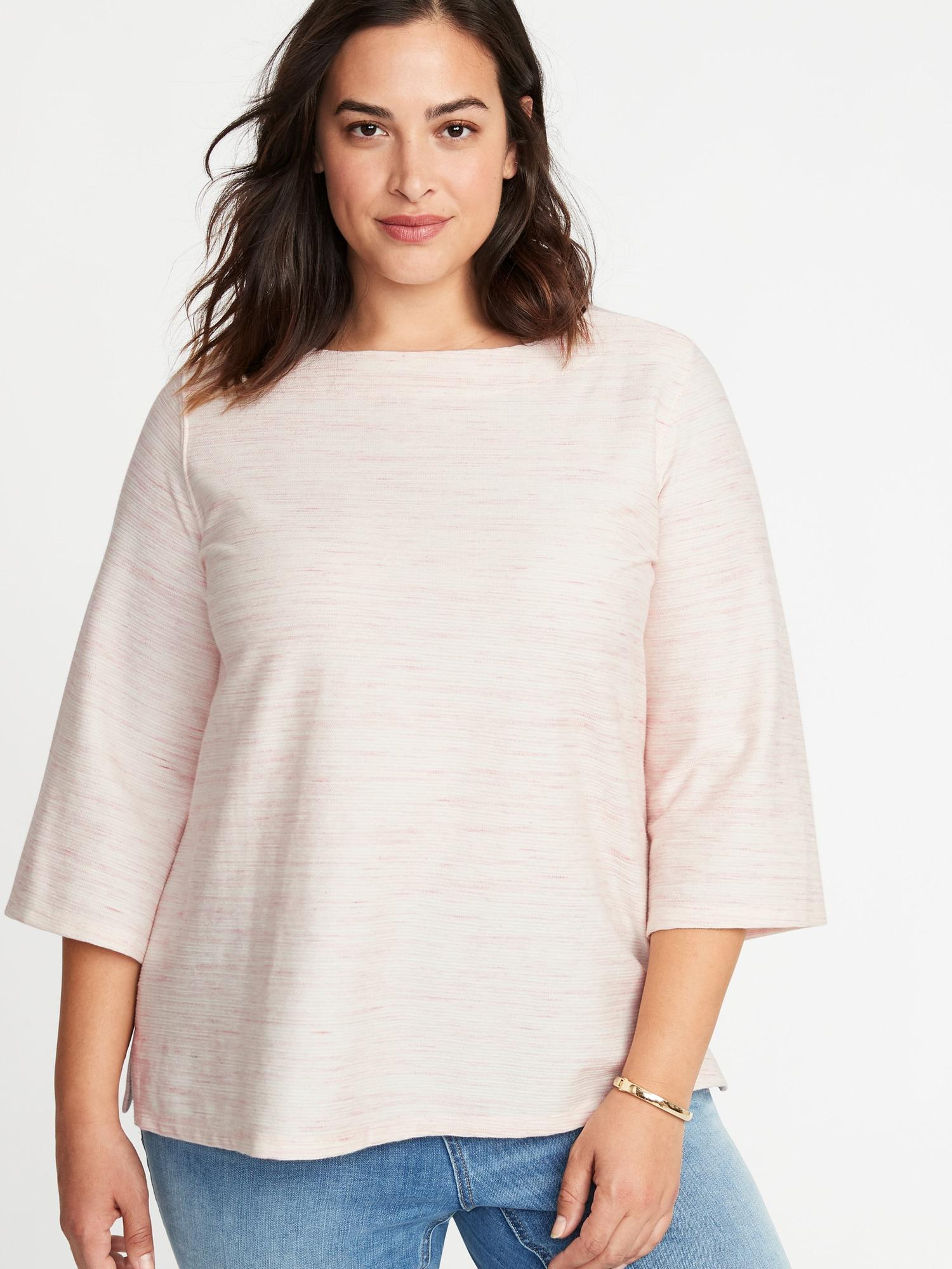 73c87950b4ae Lyst - Old Navy Plus-size Textured Boat-neck Top in Red