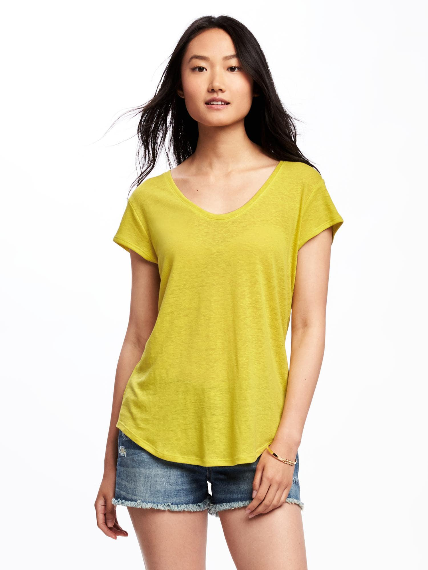 f12c8130f1c99 Lyst - Old Navy Relaxed Linen-blend Curved-hem Tee in Yellow