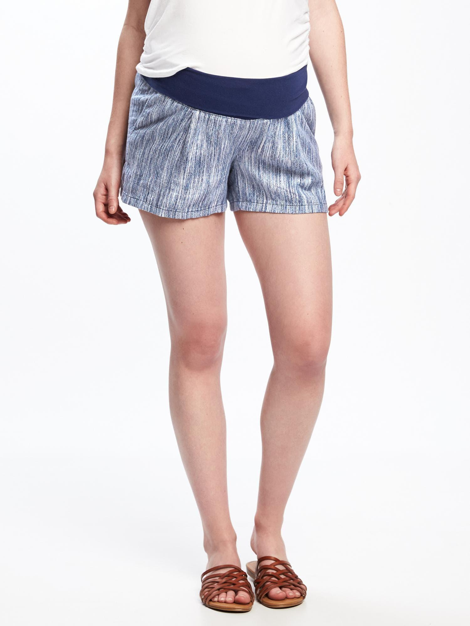 e6c3568fdf979 Old Navy Maternity Roll-panel Dobby-linen Shorts (4