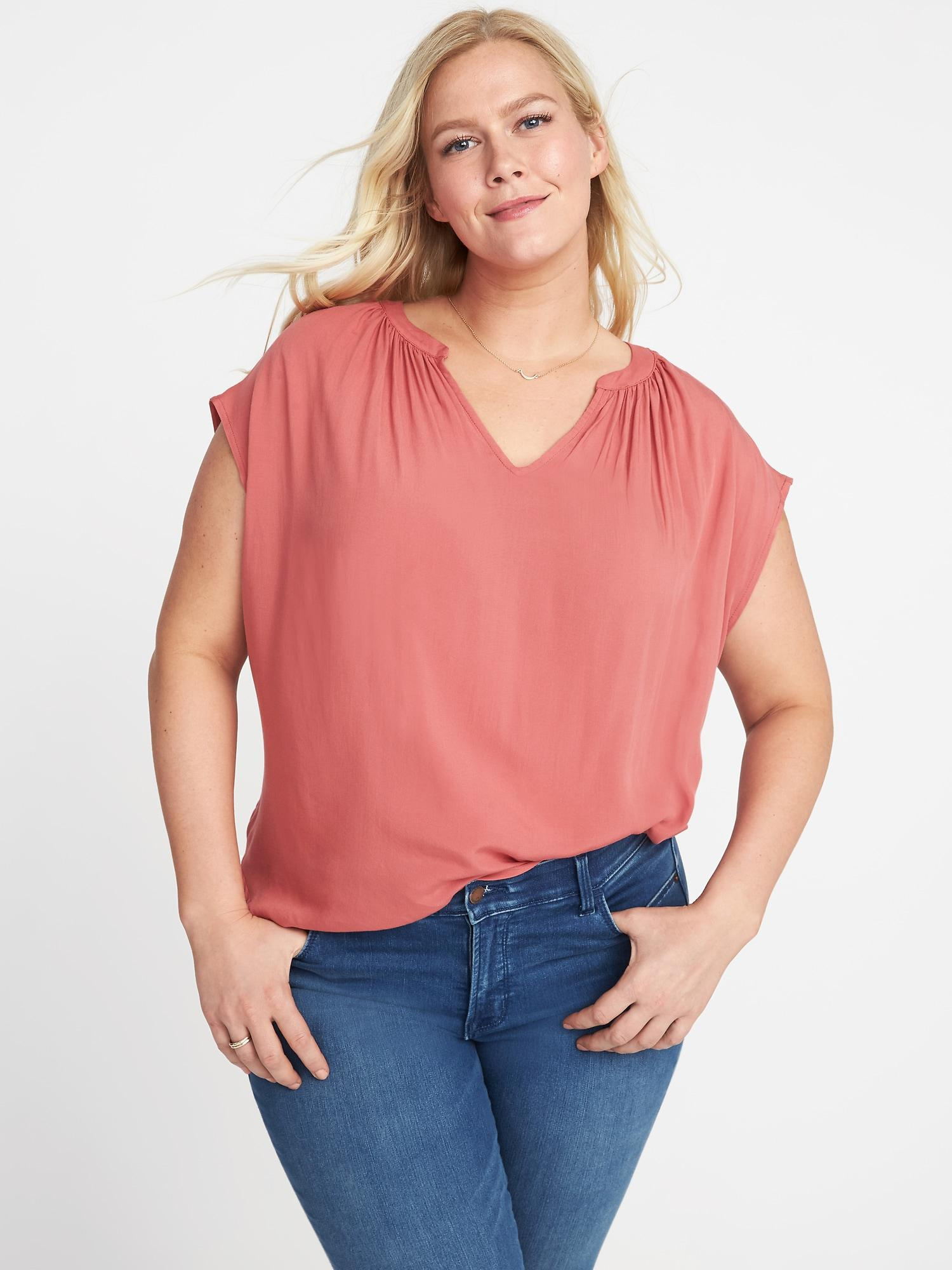 c3cb1960306 Lyst - Old Navy Plus-size Split-neck Cocoon Top in Red