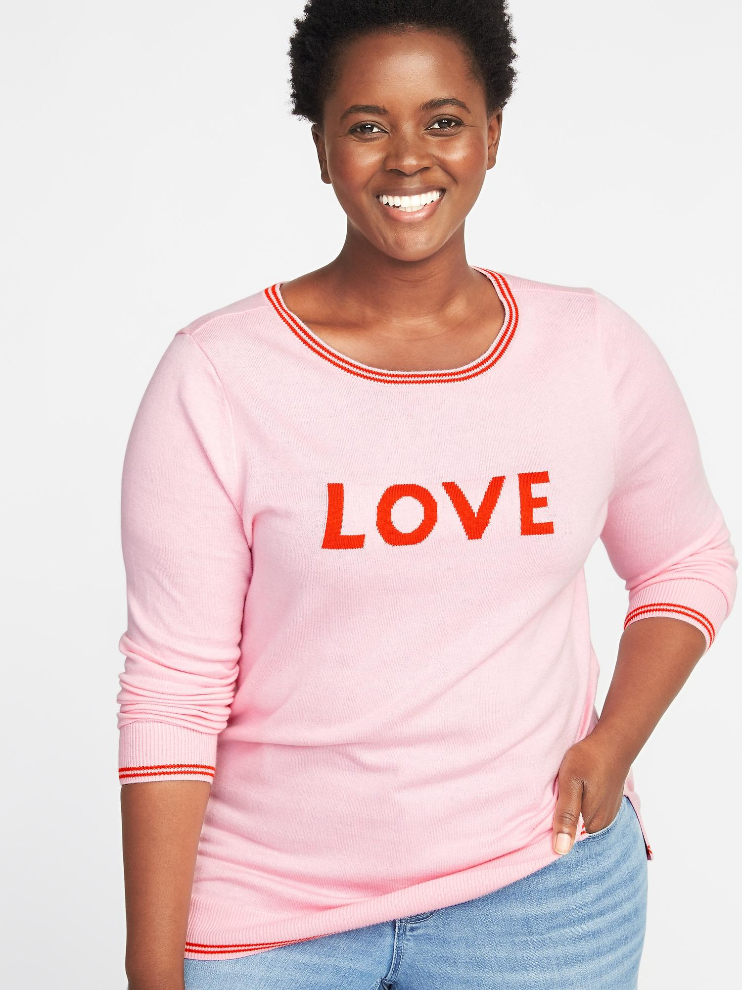 19afa1aa66c Old Navy Classic Plus-size Graphic Crew-neck Sweater in Pink - Lyst