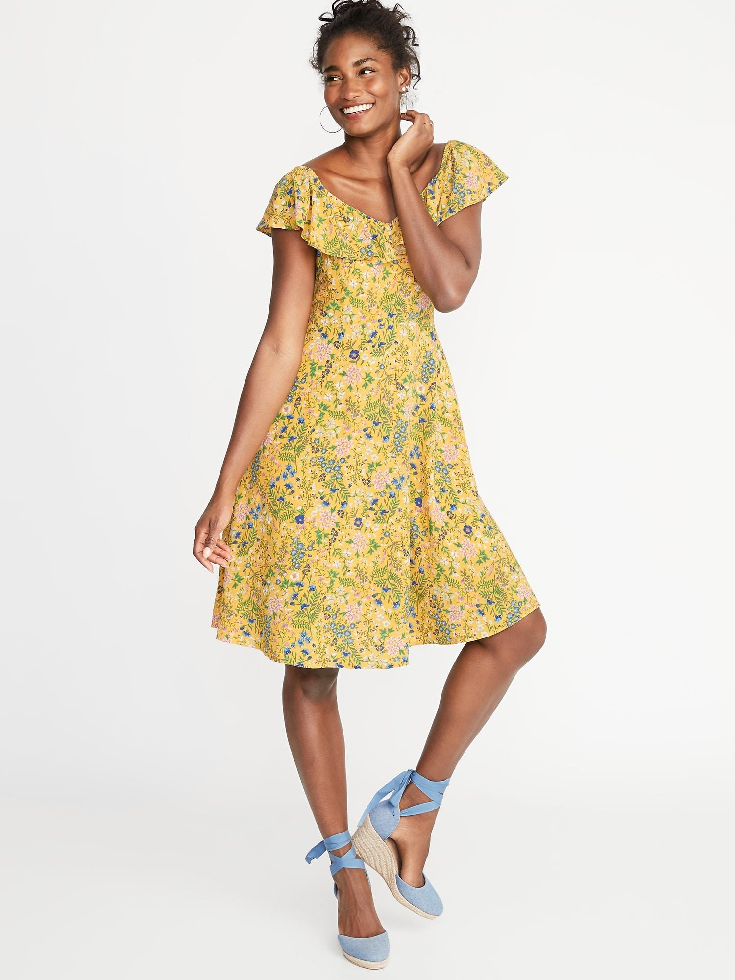 59e12a848b6a Lyst - Old Navy Ruffled Sweetheart-neck Fit   Flare Dress in Yellow