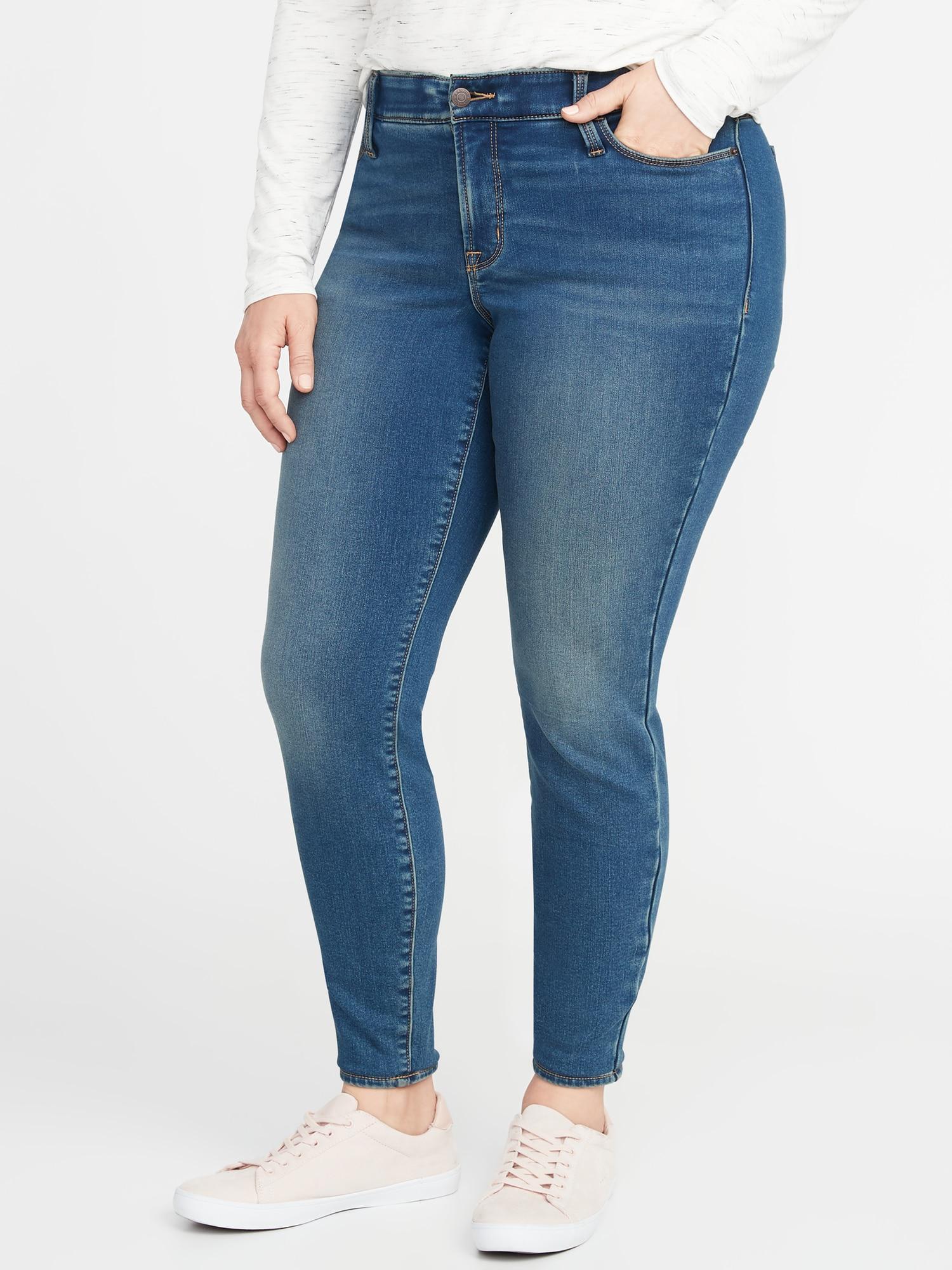 97cc7a92558 Old Navy. Women s Blue High-rise Secret-slim Pockets + Waistband Built-in  Warm Rockstar Super Skinny Plus-size Jeans