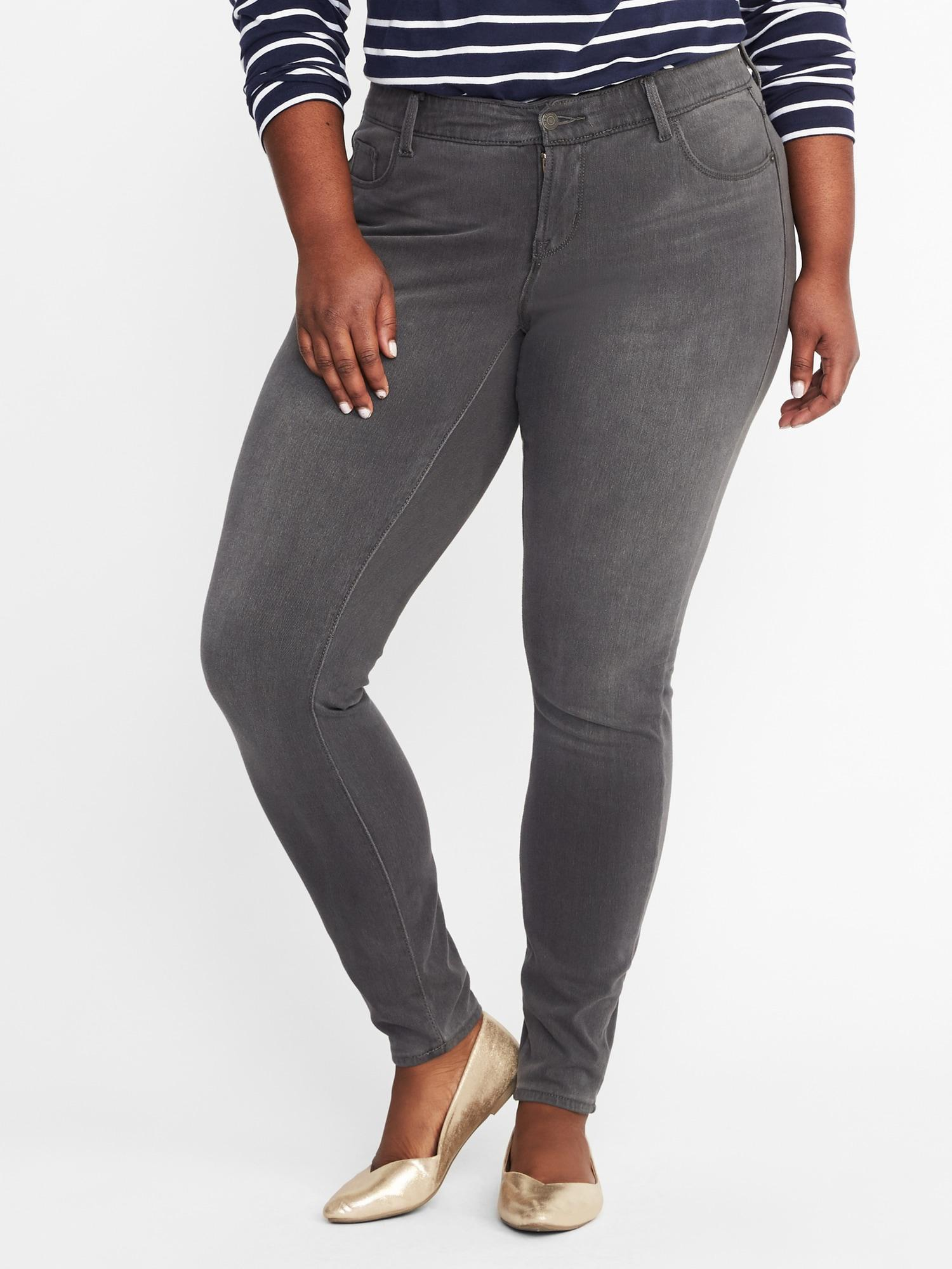 e3820c809c33 Old Navy. Women s Gray High-rise Secret-slim Pockets + Waistband Plus-size  Rockstar 24 7 Jeans