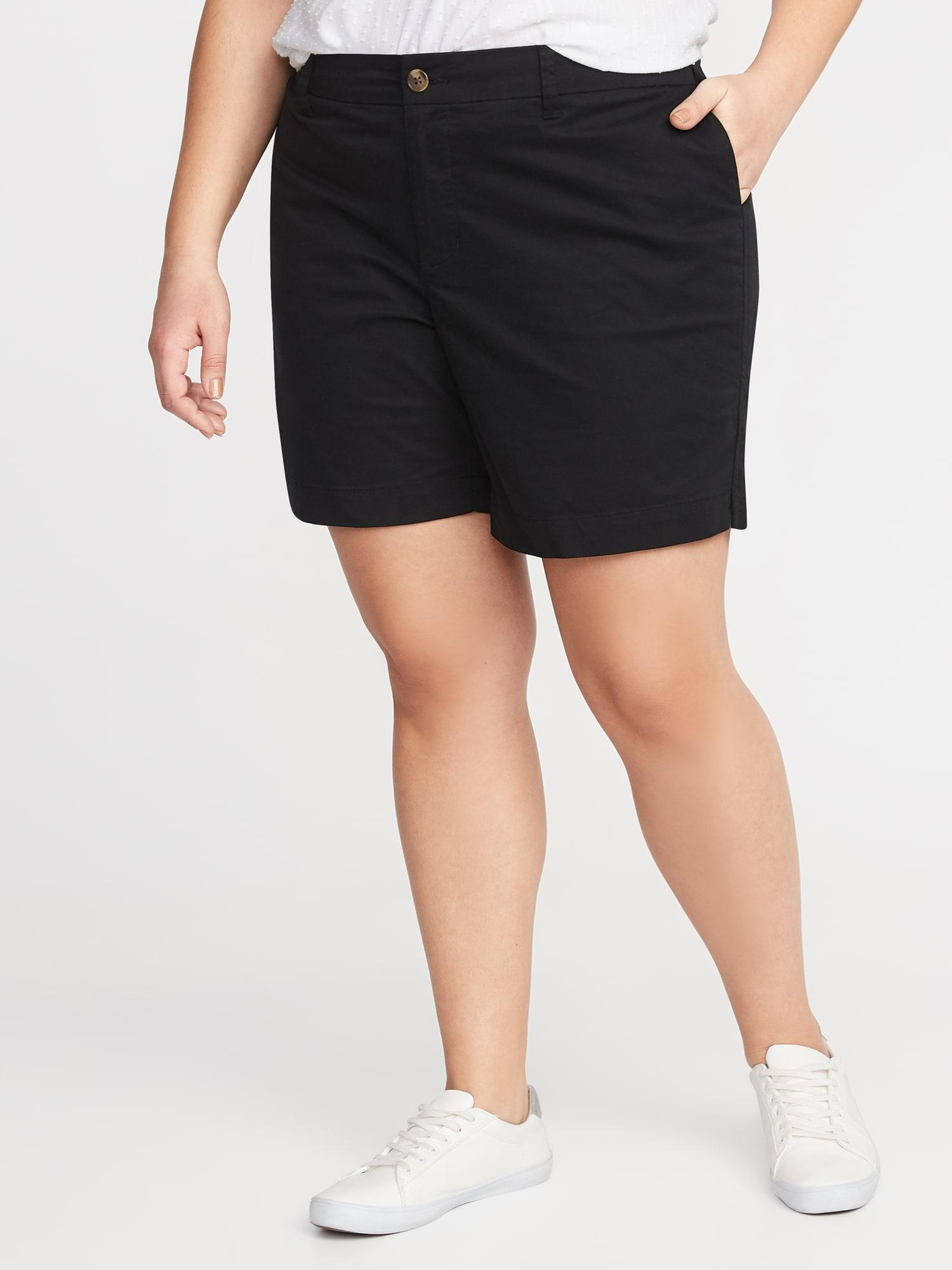 a099a5dda0 Old Navy. Women's Black Mid-rise Plus-size Twill Everyday Shorts - 7-inch  Inseam
