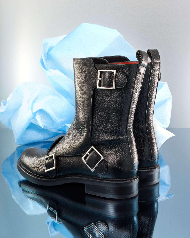 118b6094edb01 Lyst - Santoni Kent Buckle Boot in Black