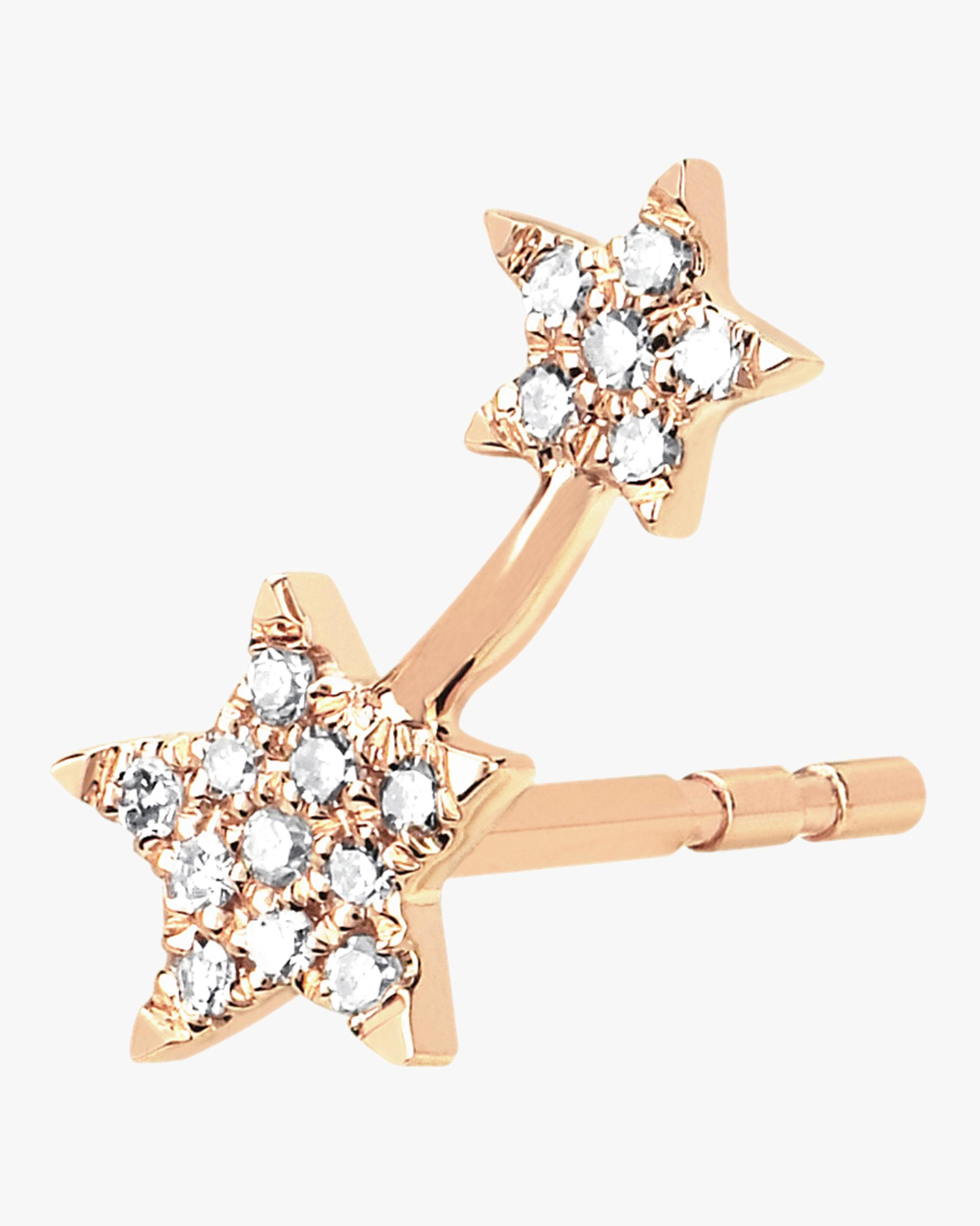 12b695114 EF Collection Single Diamond Double Star Stud Earring in Metallic - Lyst