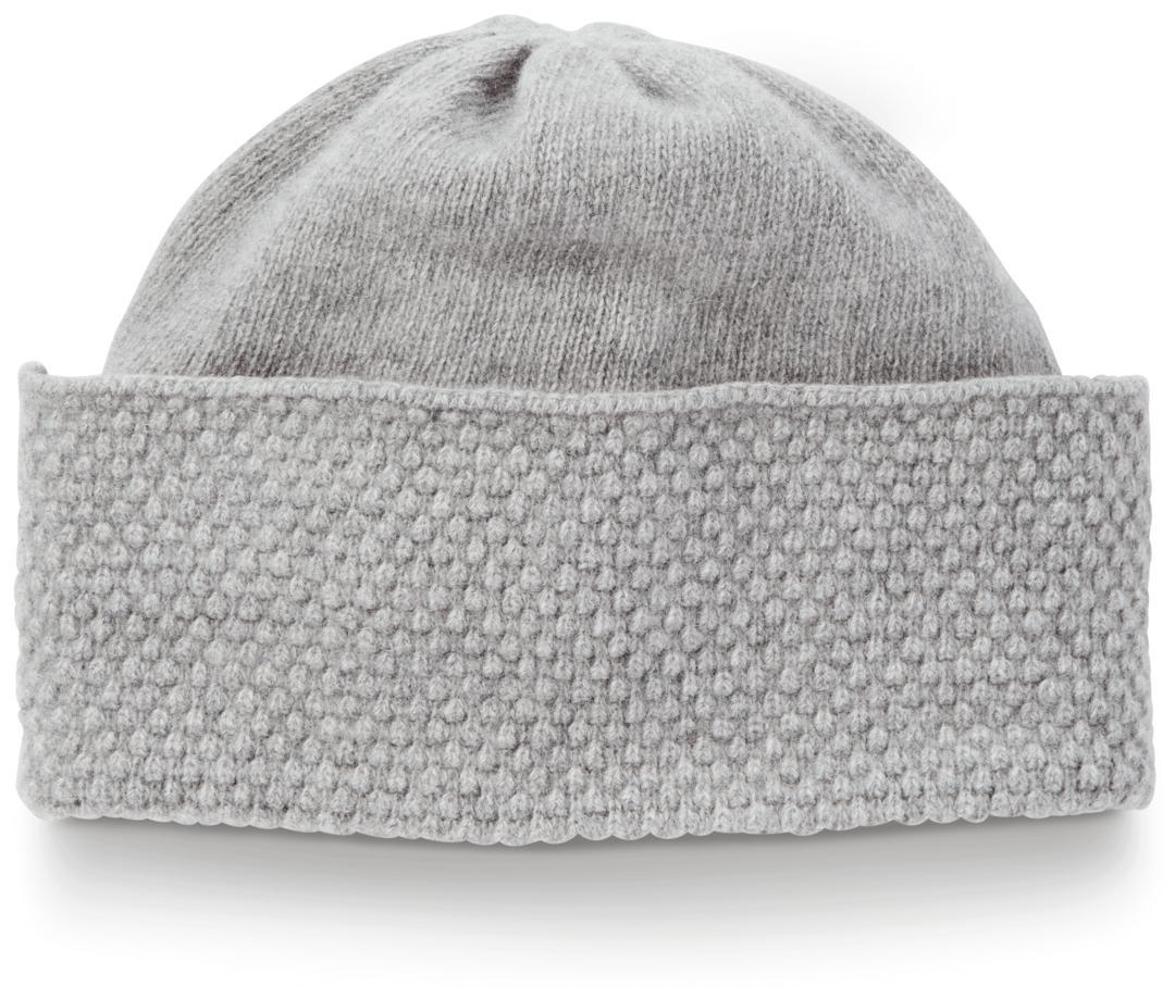 5b5e08ce Lyst - Portolano Cashmere Popcorn Knit Hat in Gray