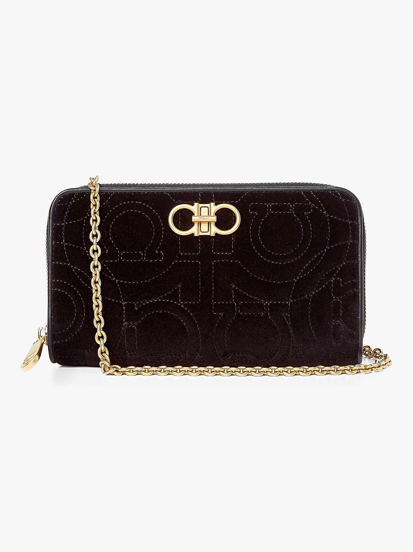 8d94961aea5e Lyst - Ferragamo Gancino Quilted Velvet Chain Wallet Bag in Black