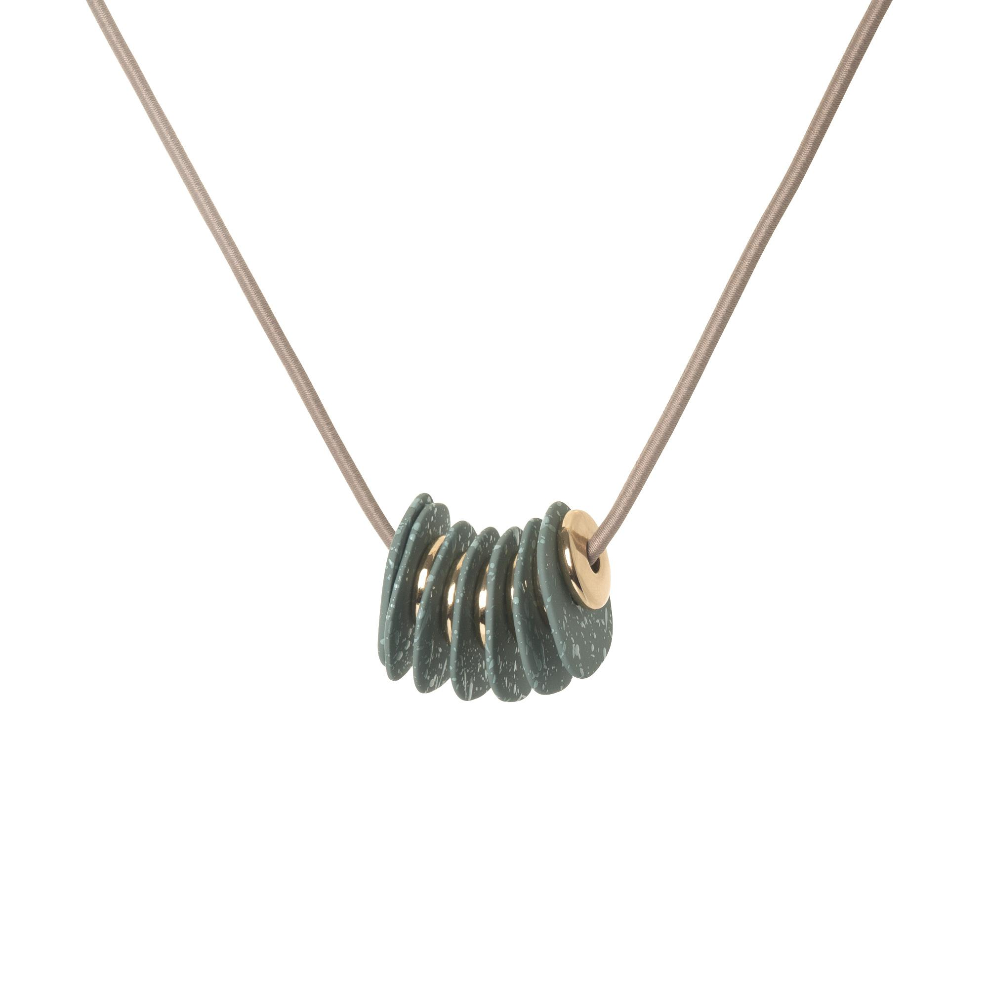 Lyst - Oliver Bonas Ember Textured Disk & Elastic Ring Necklace in ...