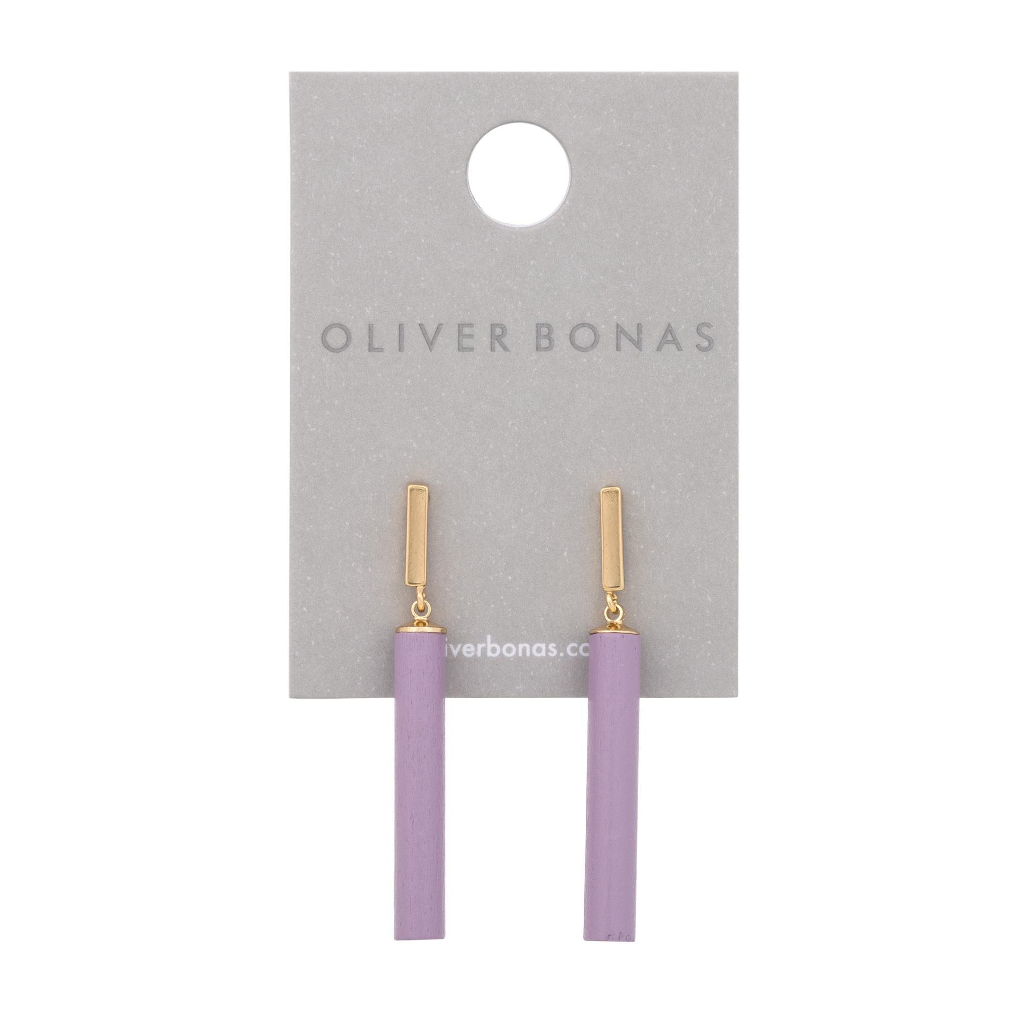 Lyst - Oliver Bonas Lander Wooden Drop Earrings in Metallic