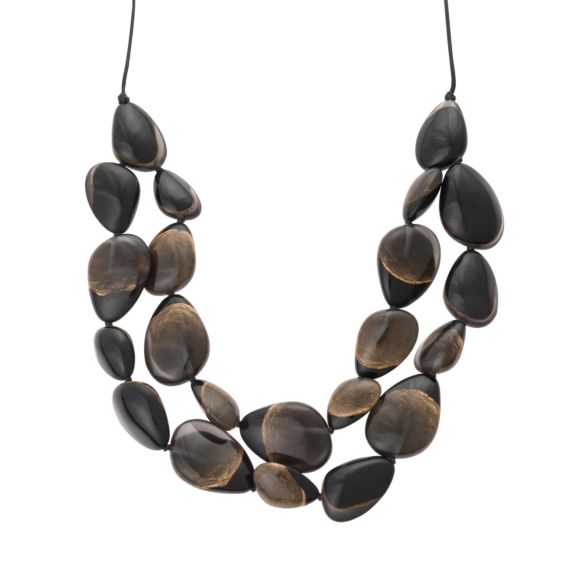 Oliver Bonas Kay Two Tone Pebble Double Row Necklace in Black - Lyst