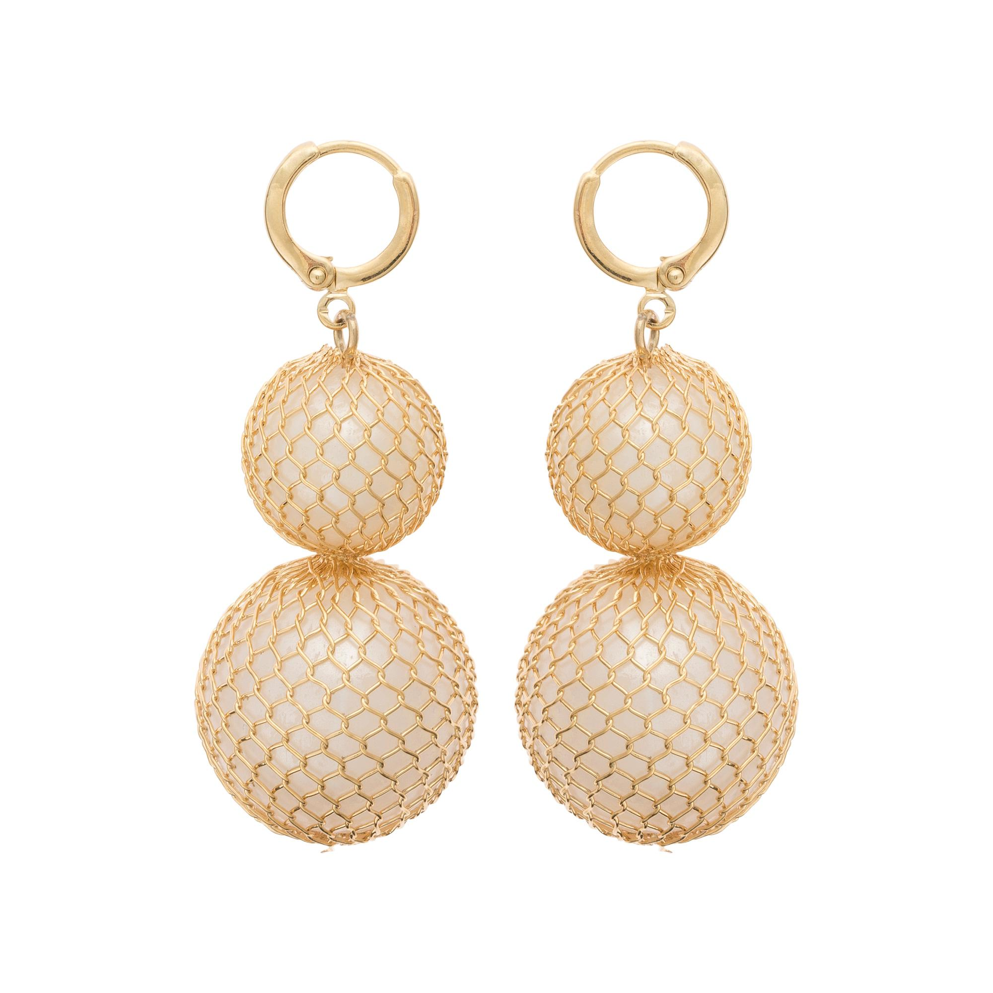 Lyst - Oliver Bonas Cleodora Mesh Wrapped Bead Earrings in Metallic