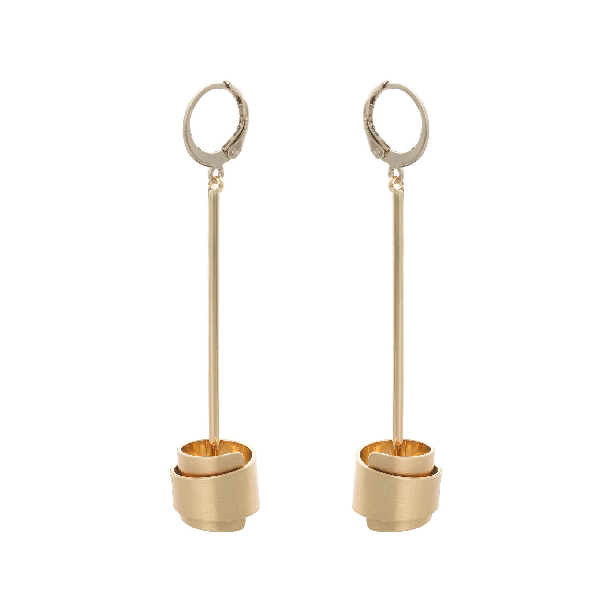 Lyst - Oliver Bonas Nassau Bar & Curved Tube Drop Earrings in Metallic