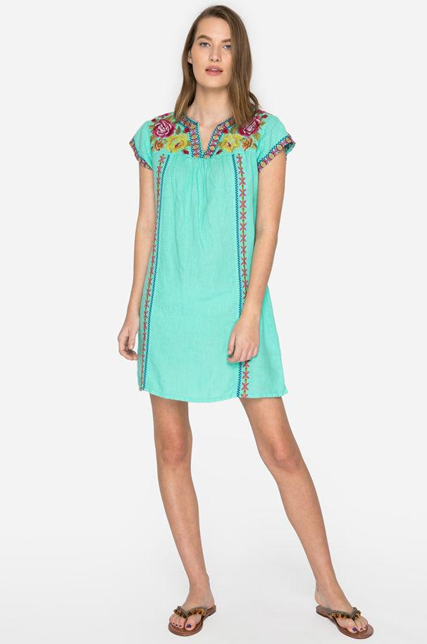 31e955321d4 Lyst - Johnny Was Vella V-neck Mexican Tunic Dress in Green