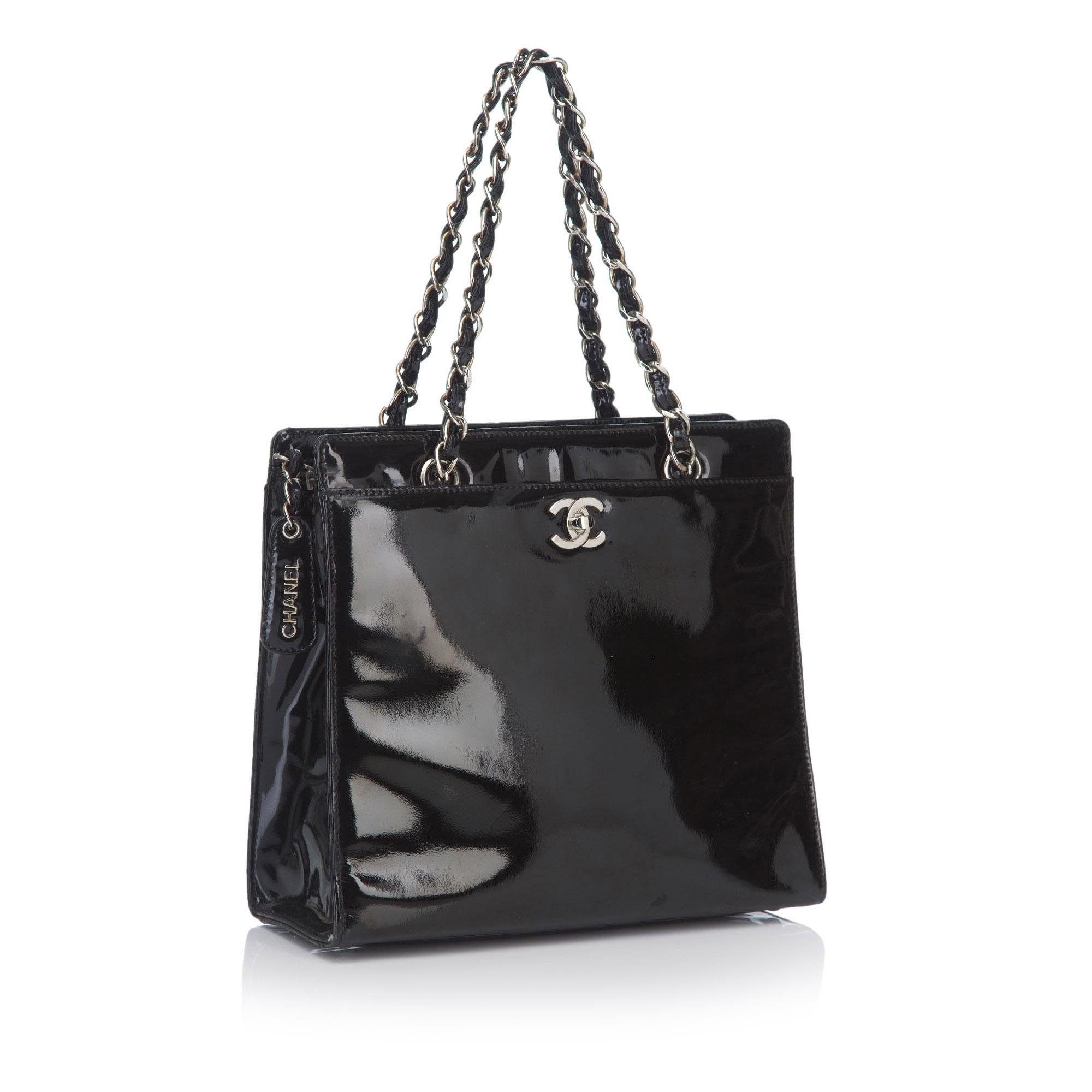 a4cff3bfe332 Chanel - Black Patent Leather Chain Tote Bag - Lyst. View fullscreen