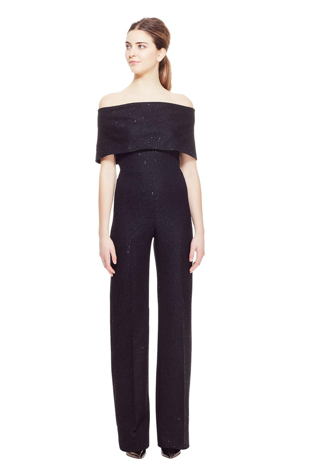 a1d7a186f3e Lyst - Lela Rose Sequin Embroidered Tweed Off The Shoulder Jumpsuit ...