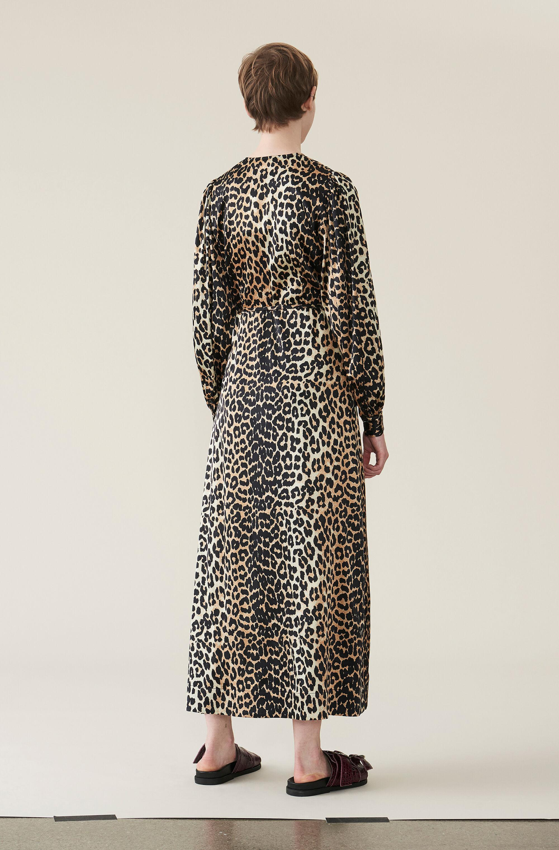 d7d23f8d6137 Ganni - Multicolor Silk Stretch Satin Wrap Dress - Lyst. View fullscreen