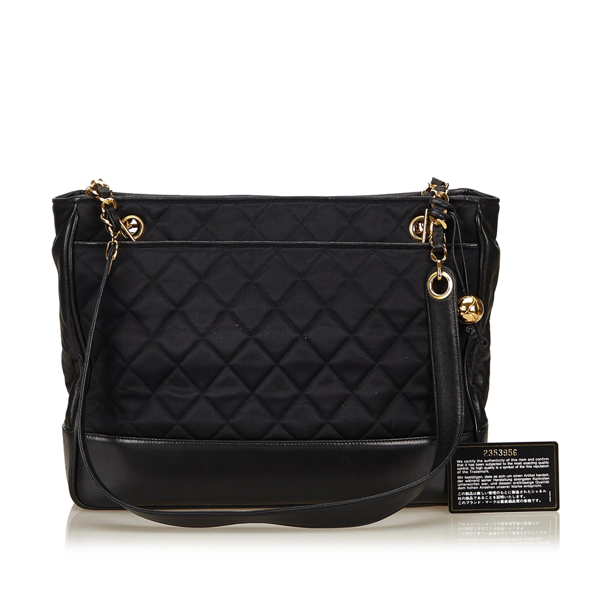 eccf0e34132295 Chanel - Black Quilted Nylon Chain Tote - Lyst. View fullscreen