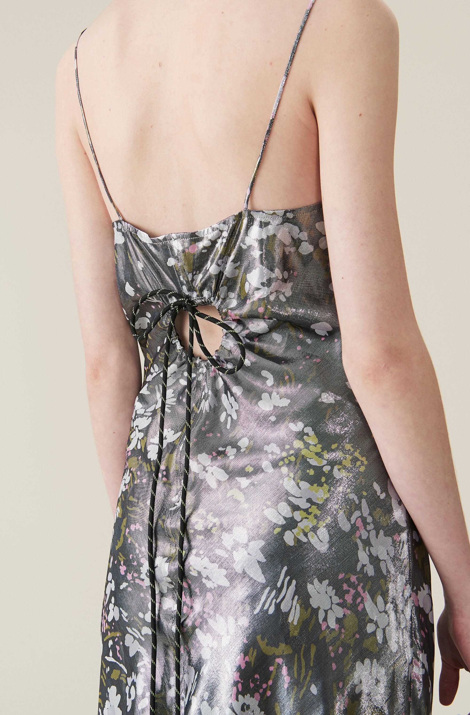 83328566f94d Ganni - Black Lurex Silk Slip Dress - Lyst. View fullscreen
