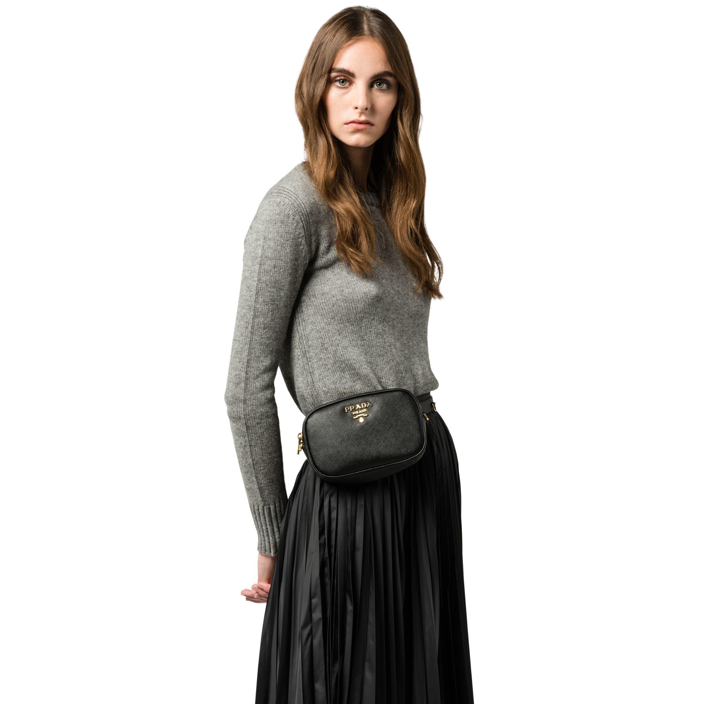 90ff0ea8d56a Prada - Black Saffiano Leather Belt Bag - Lyst. View fullscreen