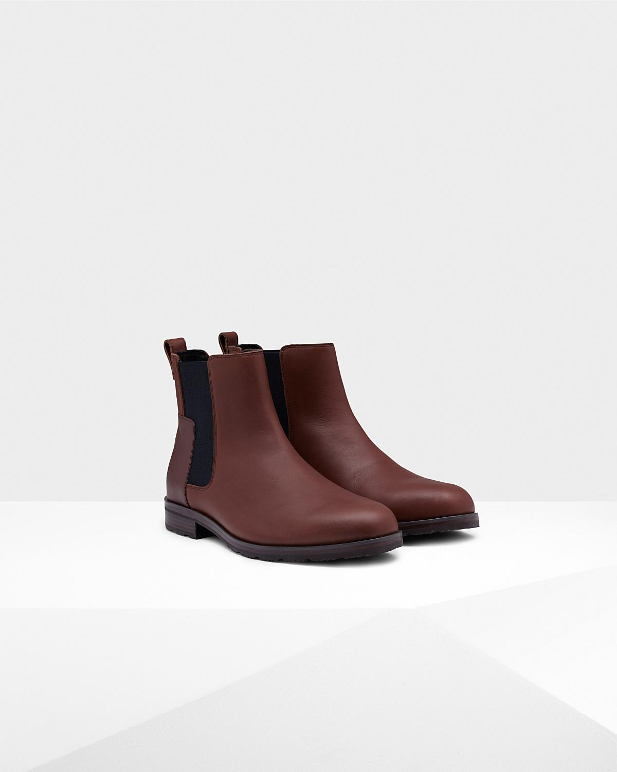3ce6aa6c6c5b8 Lyst - Hunter Men s Original Refined Leather Chelsea Boots in Brown