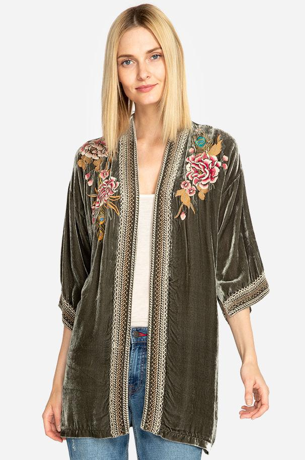 3af44e9221716 Lyst - Johnny Was Quito Velvet Kimono in Green