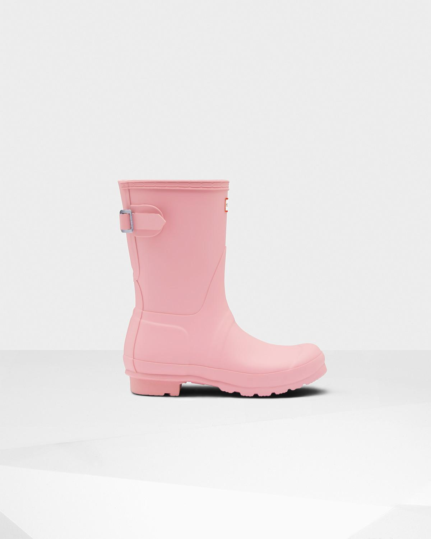 8882f6936 Lyst - HUNTER Women's Original Short Back Adjustable Rain Boots in Pink