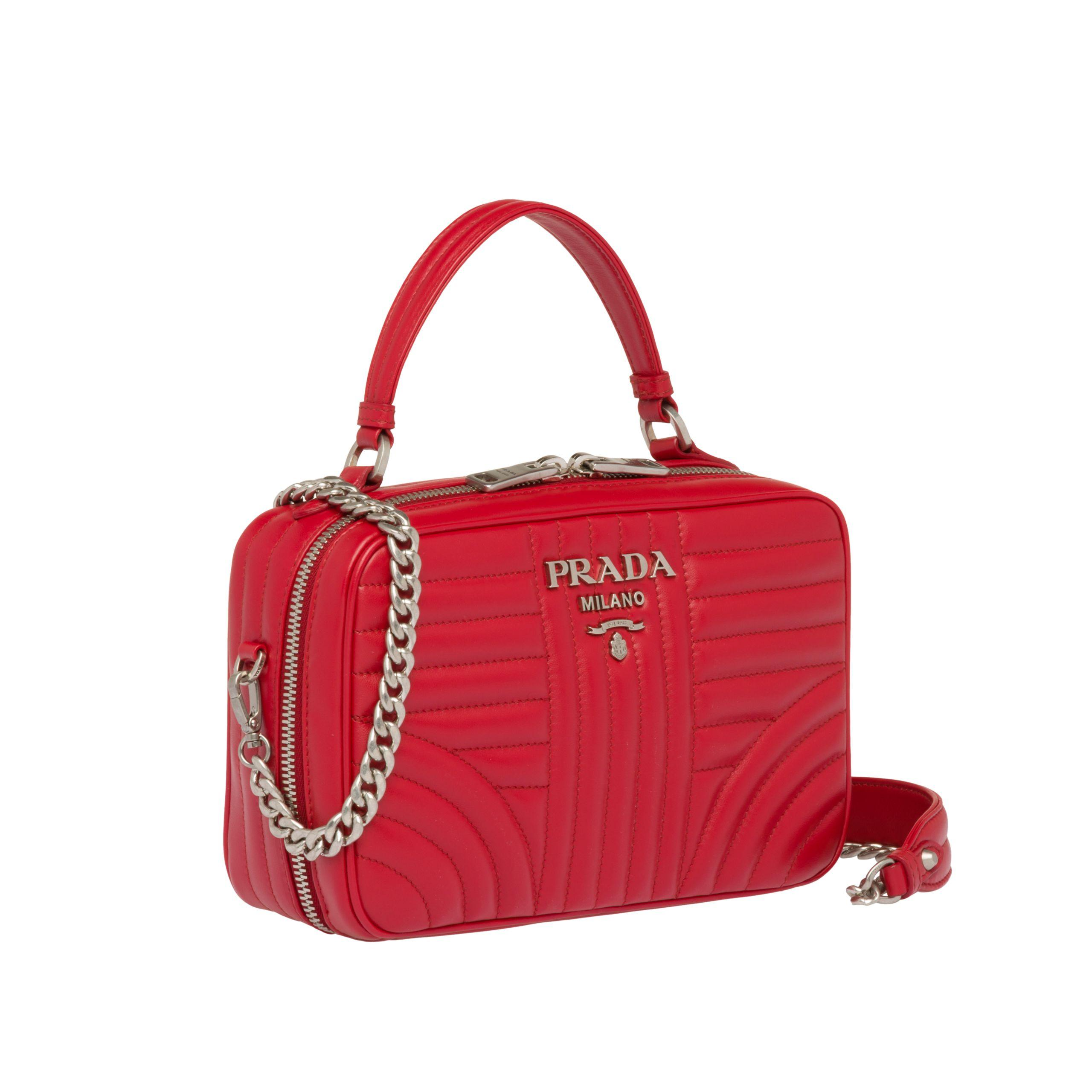 172f7abaca28 Lyst - Prada Diagramme Leather Bag in Red