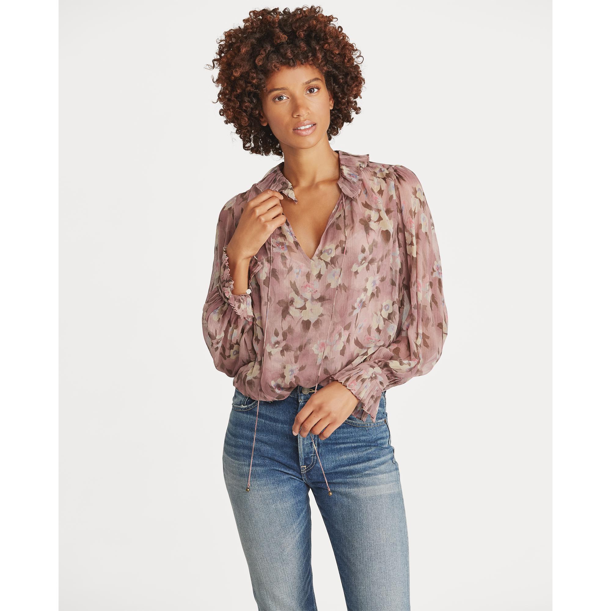 9b9b660ea17d29 Lyst - Polo Ralph Lauren Floral Silk Blouse